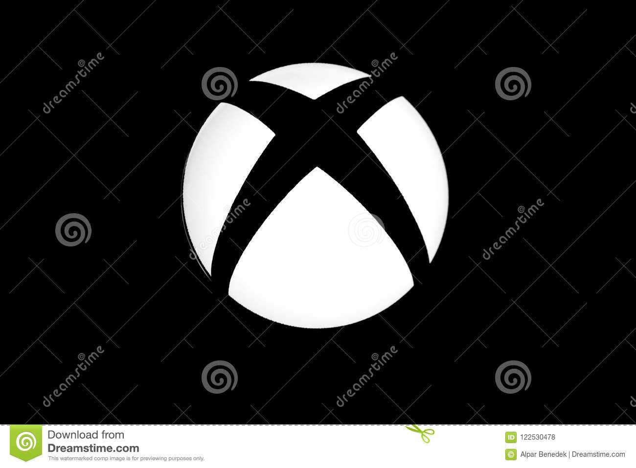 Xbox one video game logo close up shot in black and white.