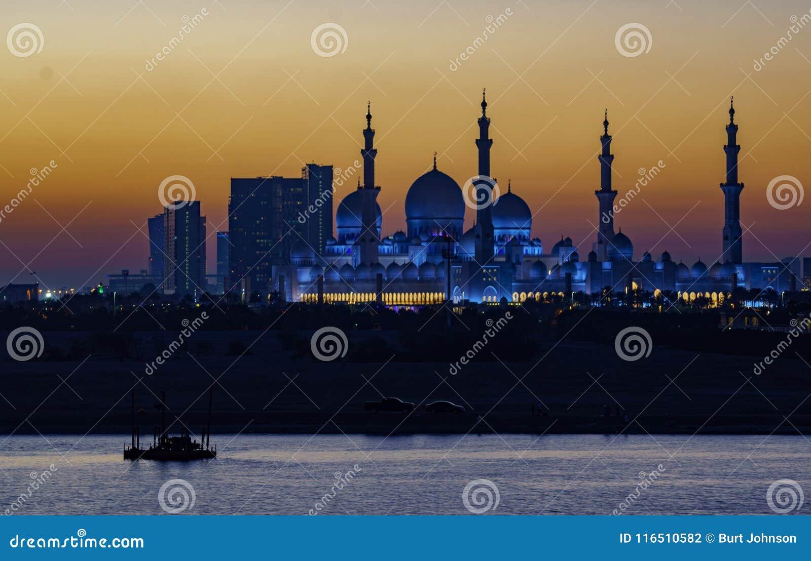 Xeique Zayed Mosque como visto na noite