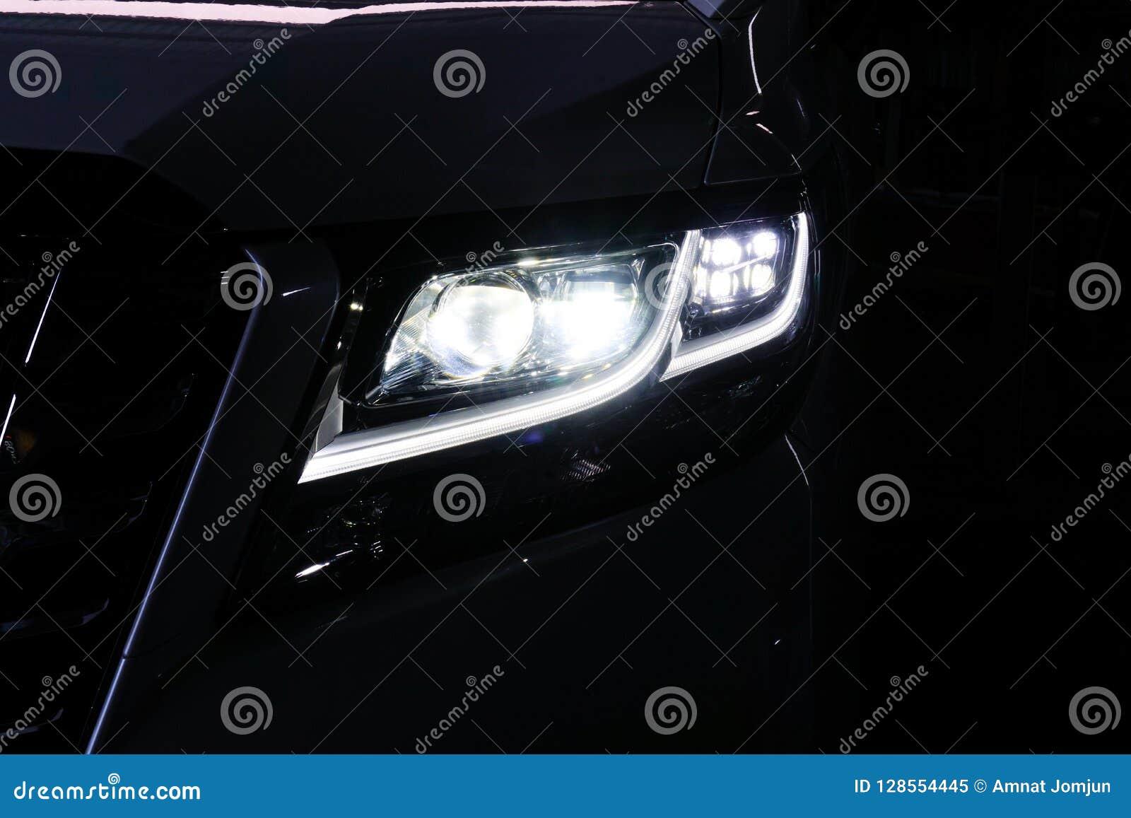 Macro View Of Modern Black Car Xenon Lamp Headlight 12 Stock Image