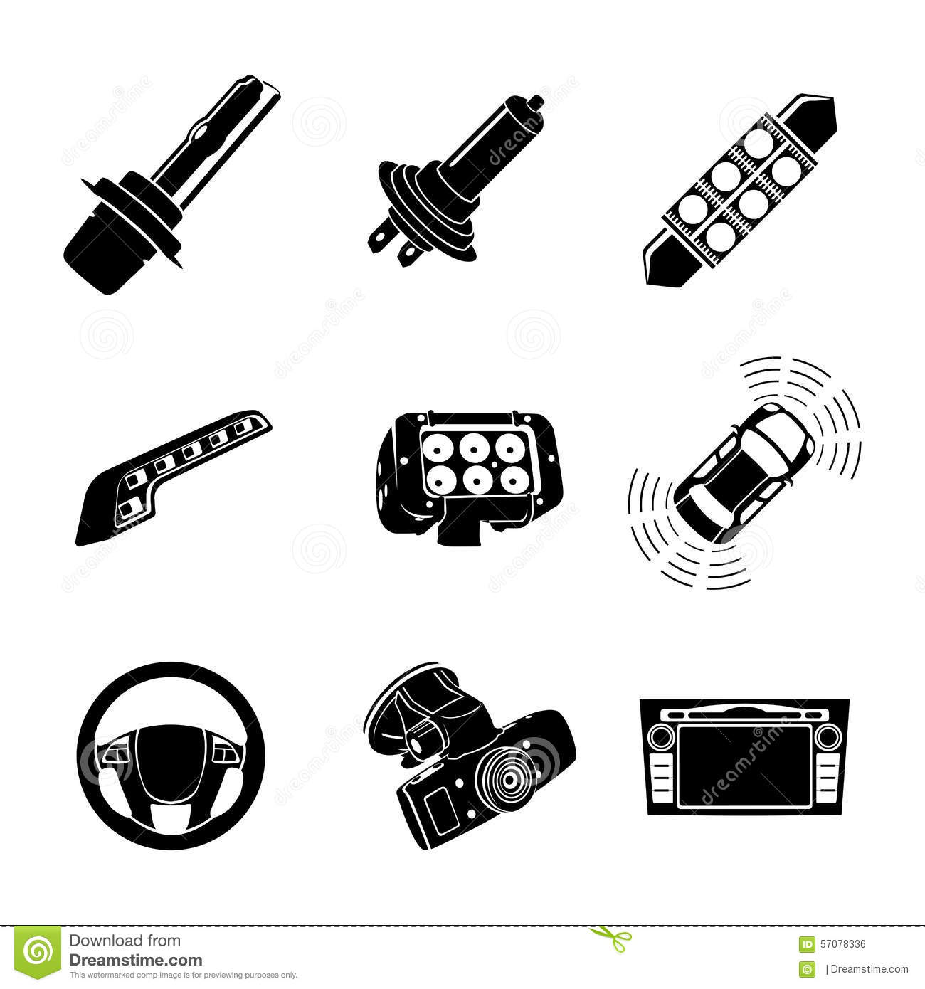 Xenon-LED Lamps And Car Multimedia Icon Set Stock Illustration ... for Car Lamp Vector  35fsj