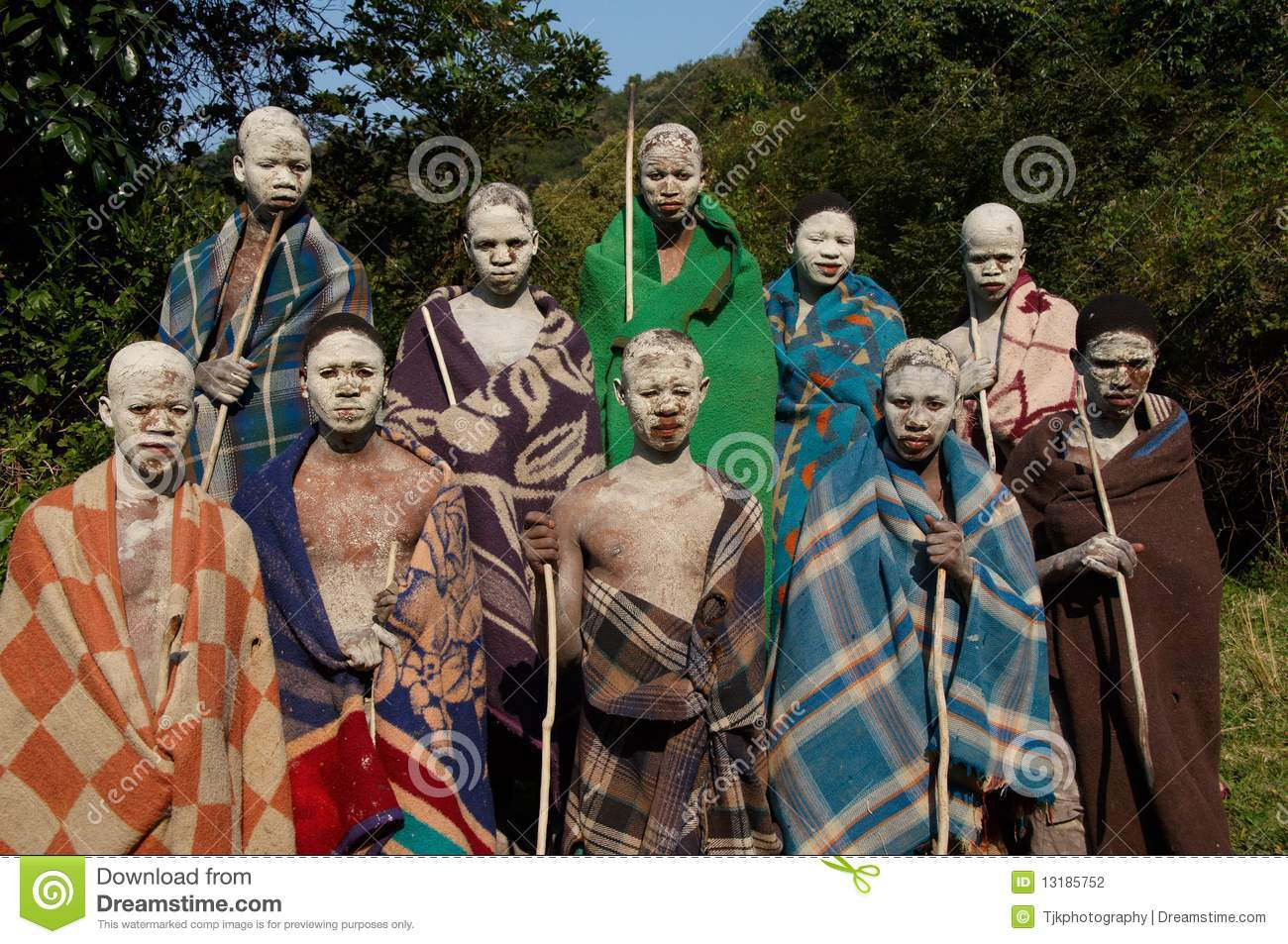 xhosa boys undergoing ritual in south africa editorial