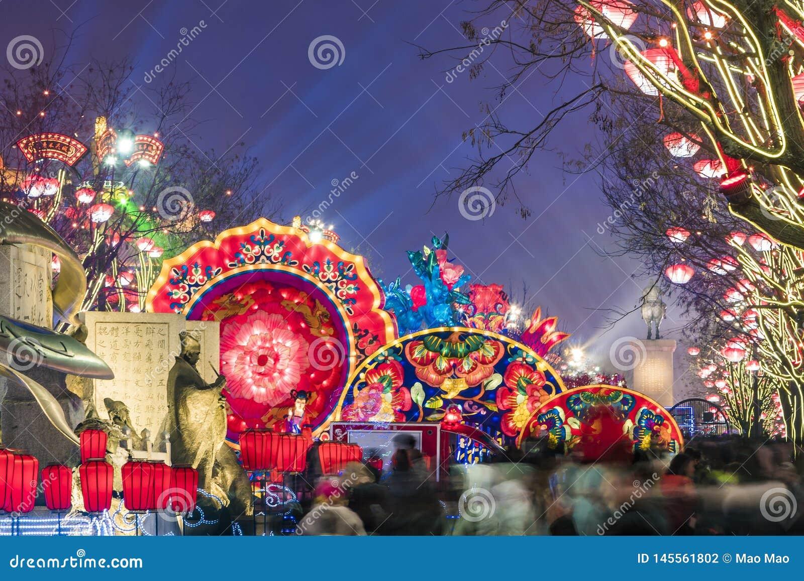 Xi ?, China - 13 de fevereiro de 2019 A multid?o no ponto c?nico para comemora o festival de mola chin?s