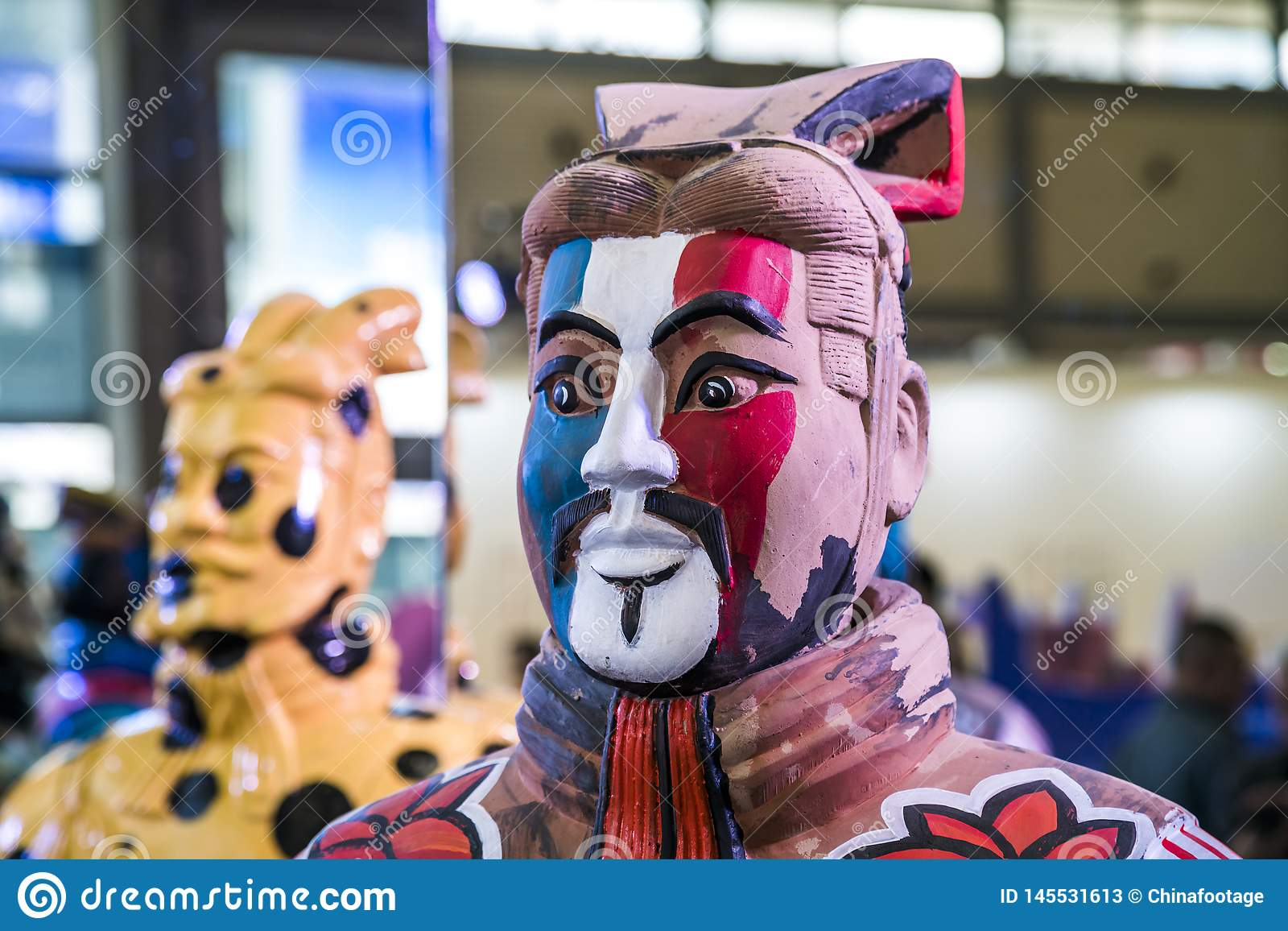 Xi`an, China - Mar 30, 2019.clorful Army of Terracotta Warriors and Horses in expo