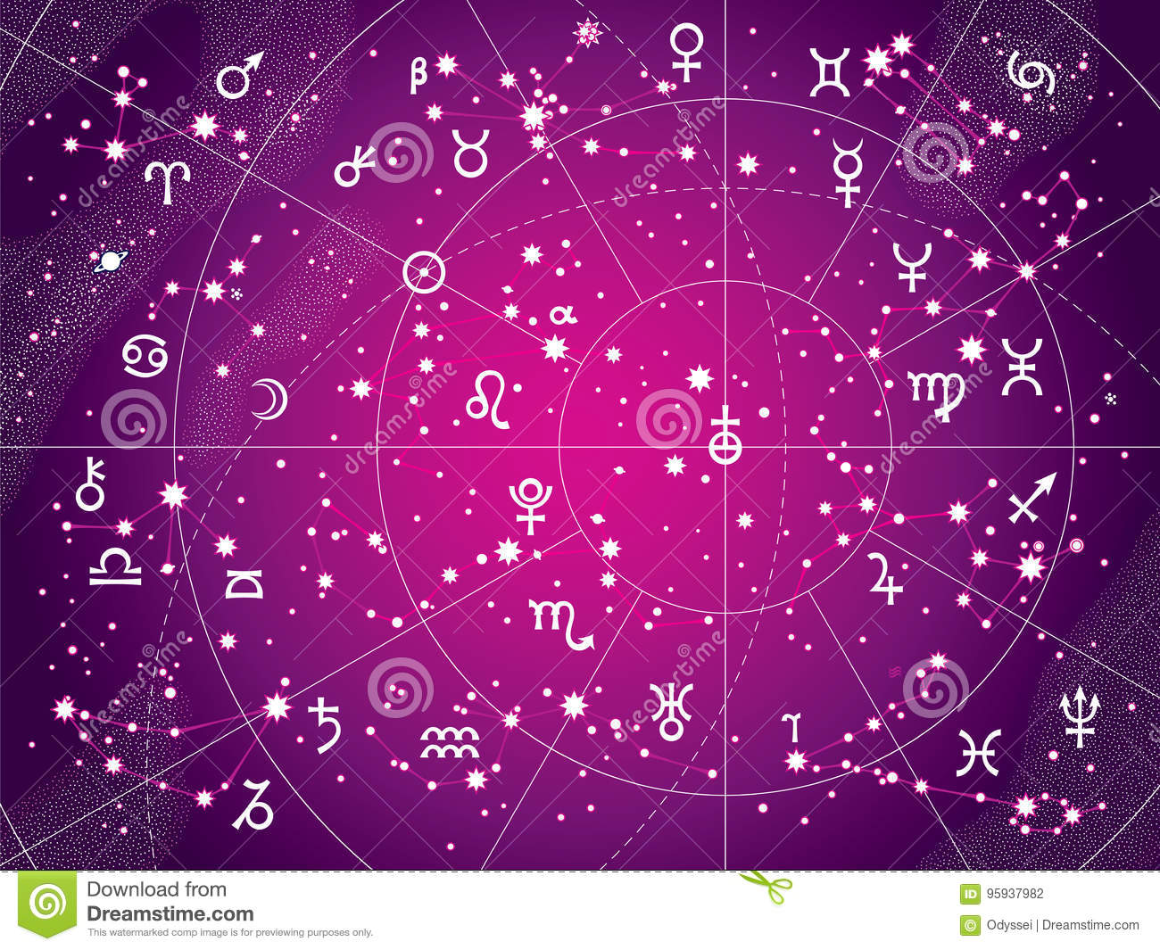 Xii Constellations Of Zodiac Antique Purple Version Stock Vector