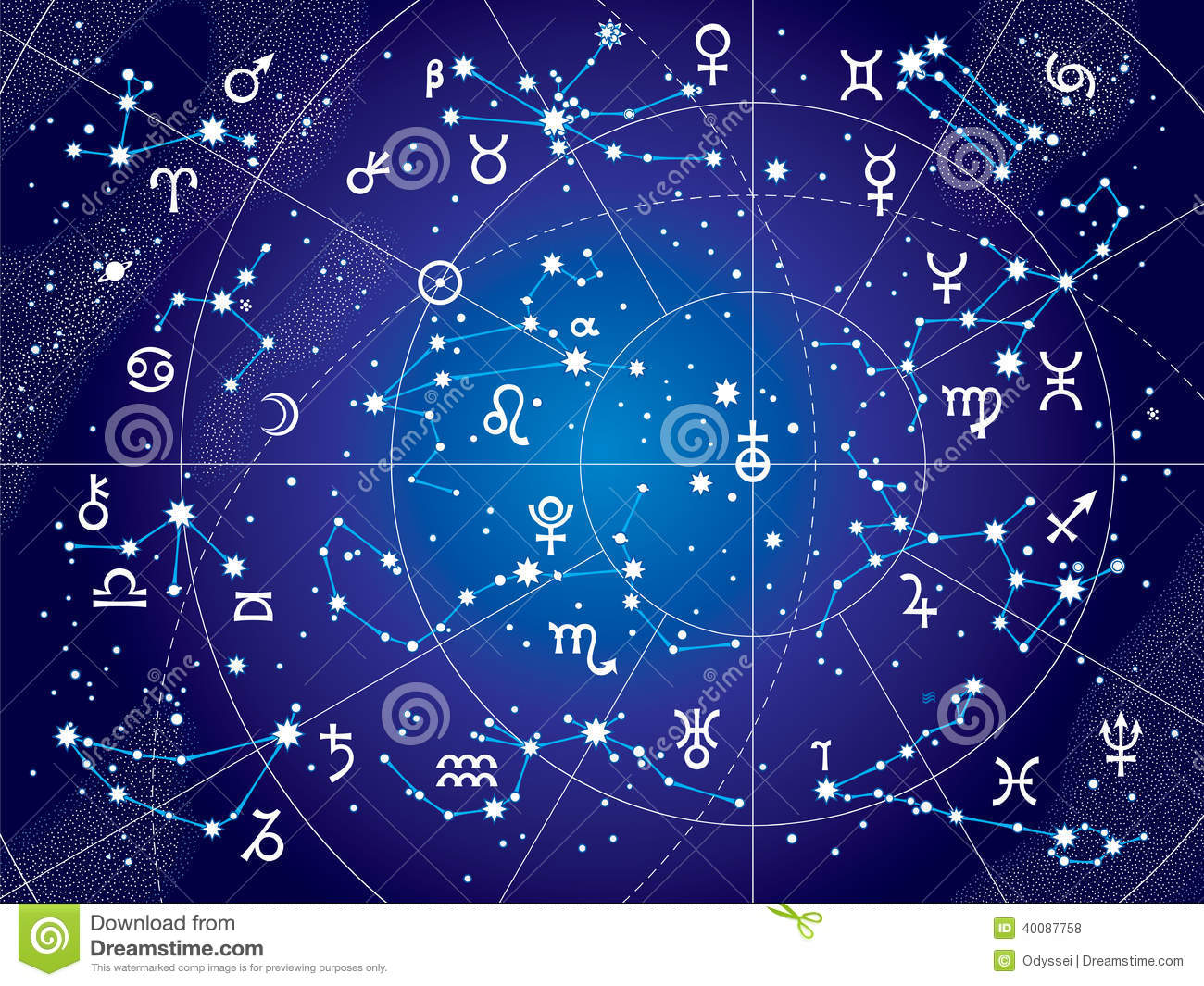 XII Constellations Of Zodiac (Ultraviolet Blueprint Version) Stock ...