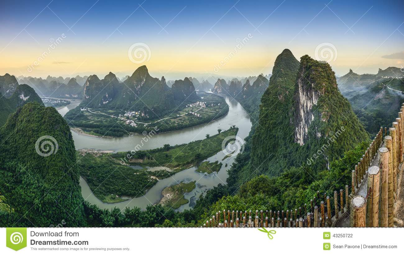 Karst mountain landscape on the Li River in Xingping, Guangxi Province ...