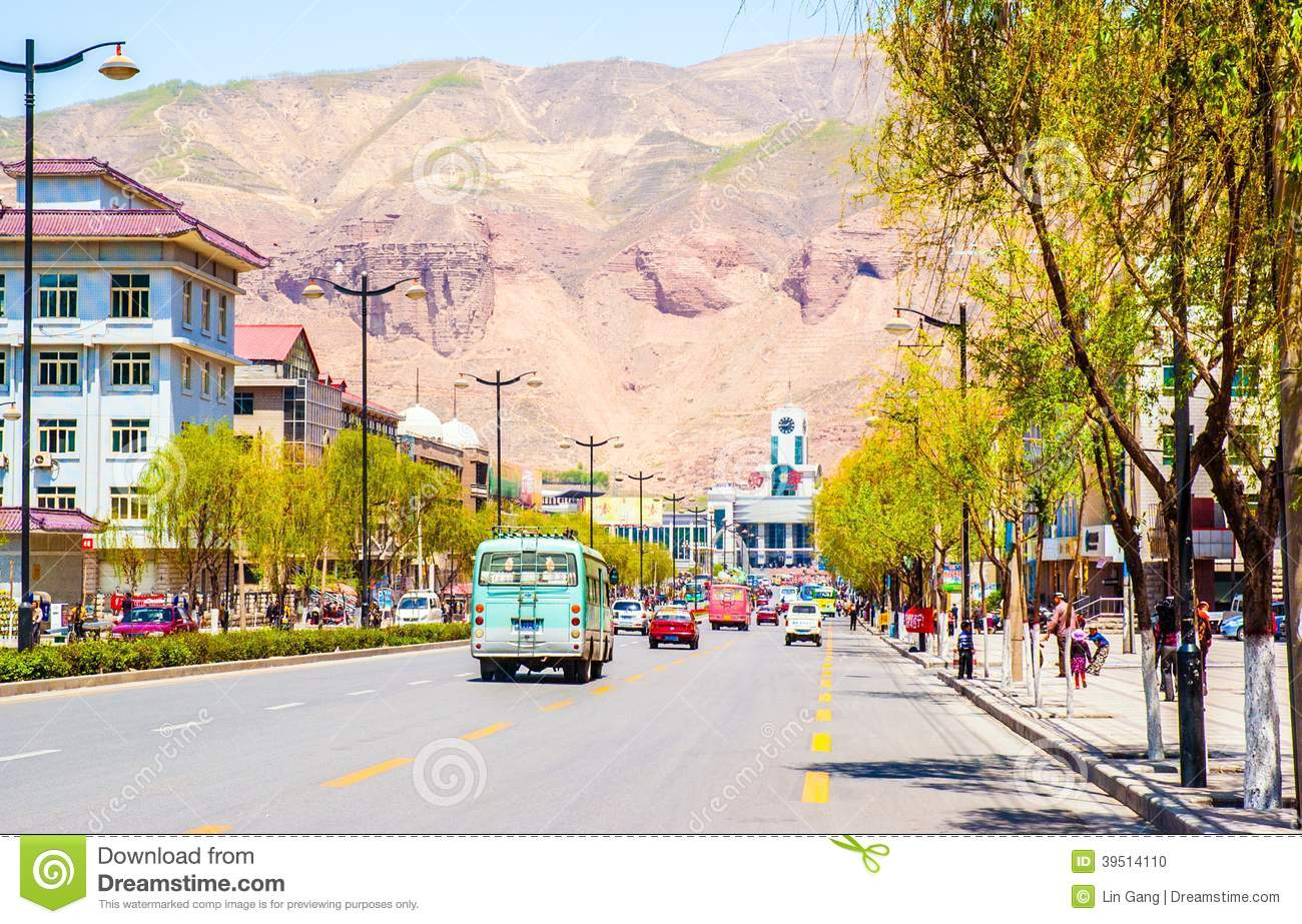 Xining scene. Street in front of the railway station