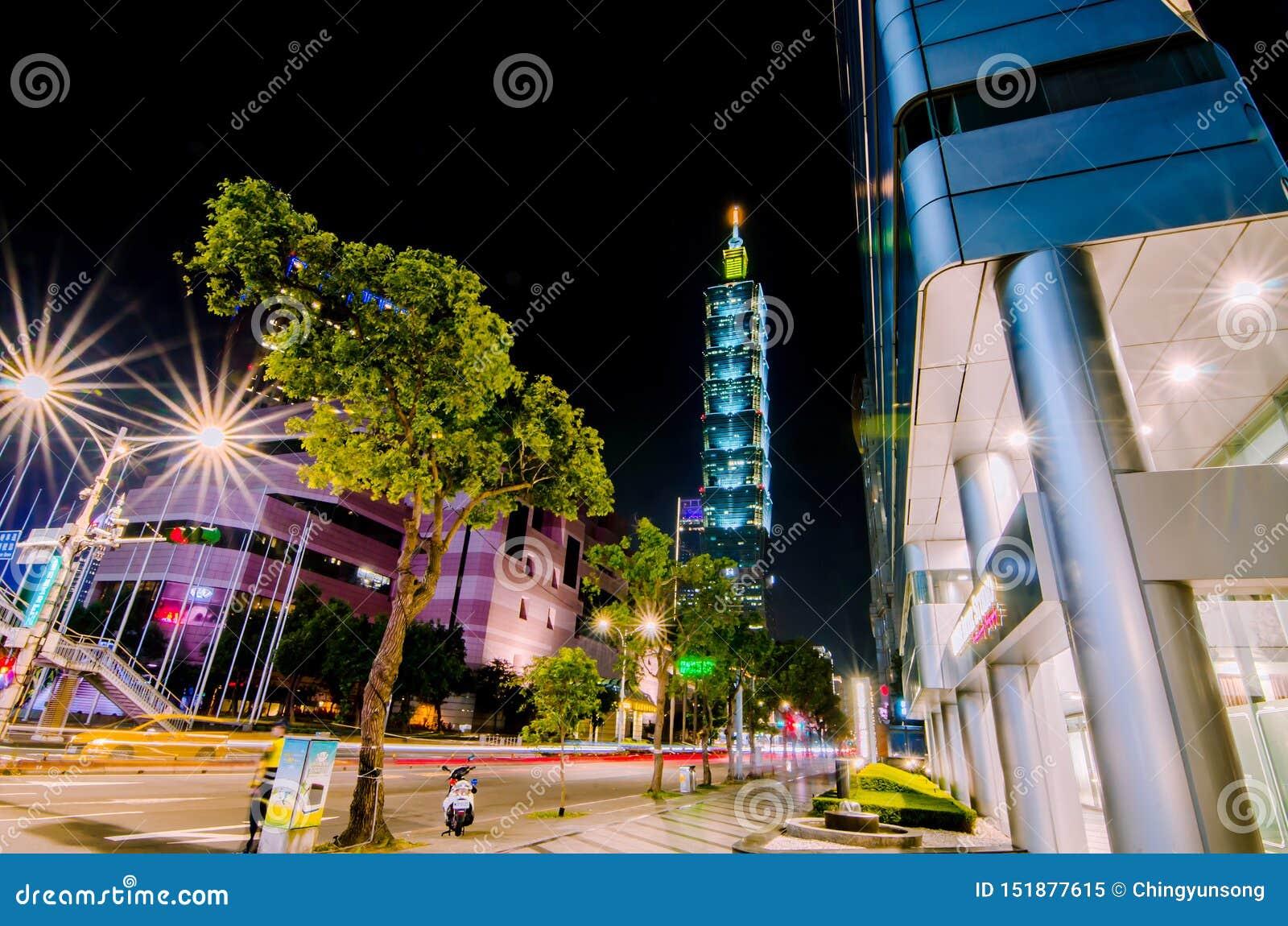 Xinyidistrict en Taipeh 101 Wolkenkrabber, werden het gebouw officieel geclassificeerd als wereld