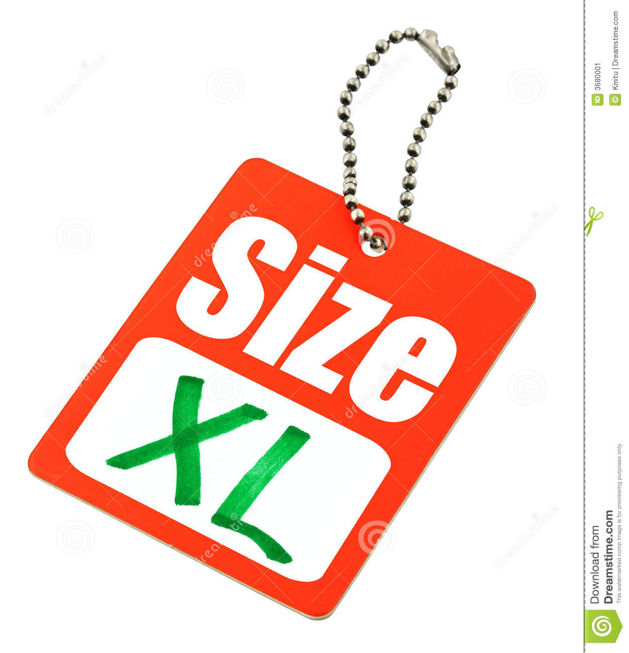 Xl Size Tag Stock Image Image 3680001