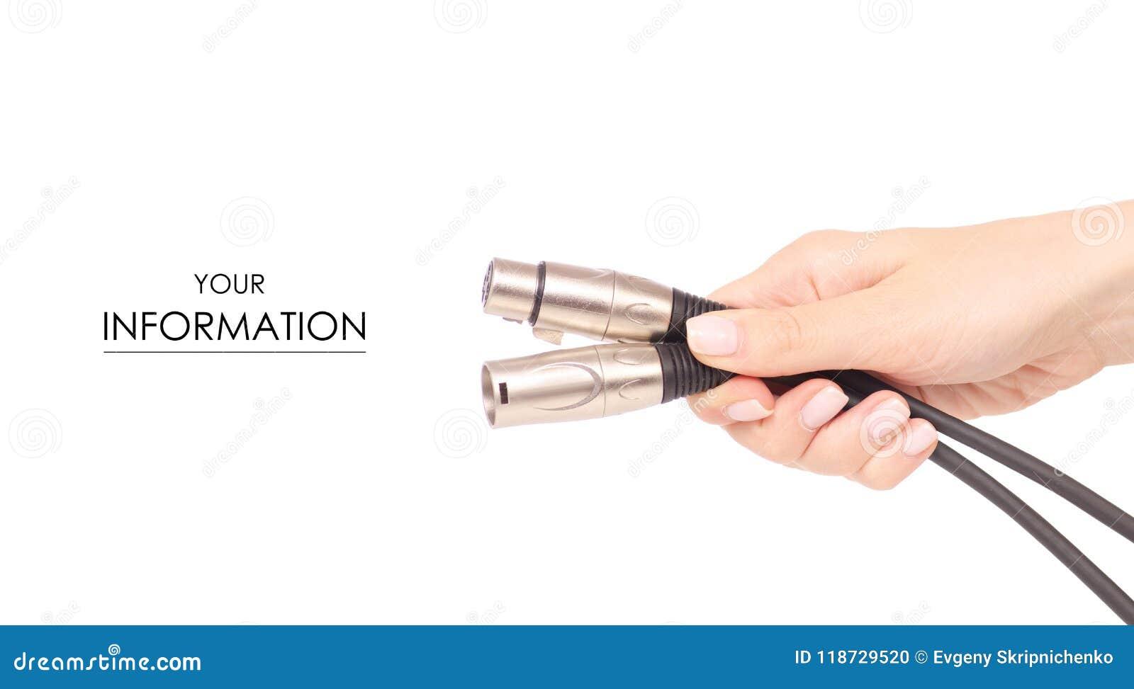Xlr kabel w ręka dźwięka mikrofonu elektronicznym wzorze