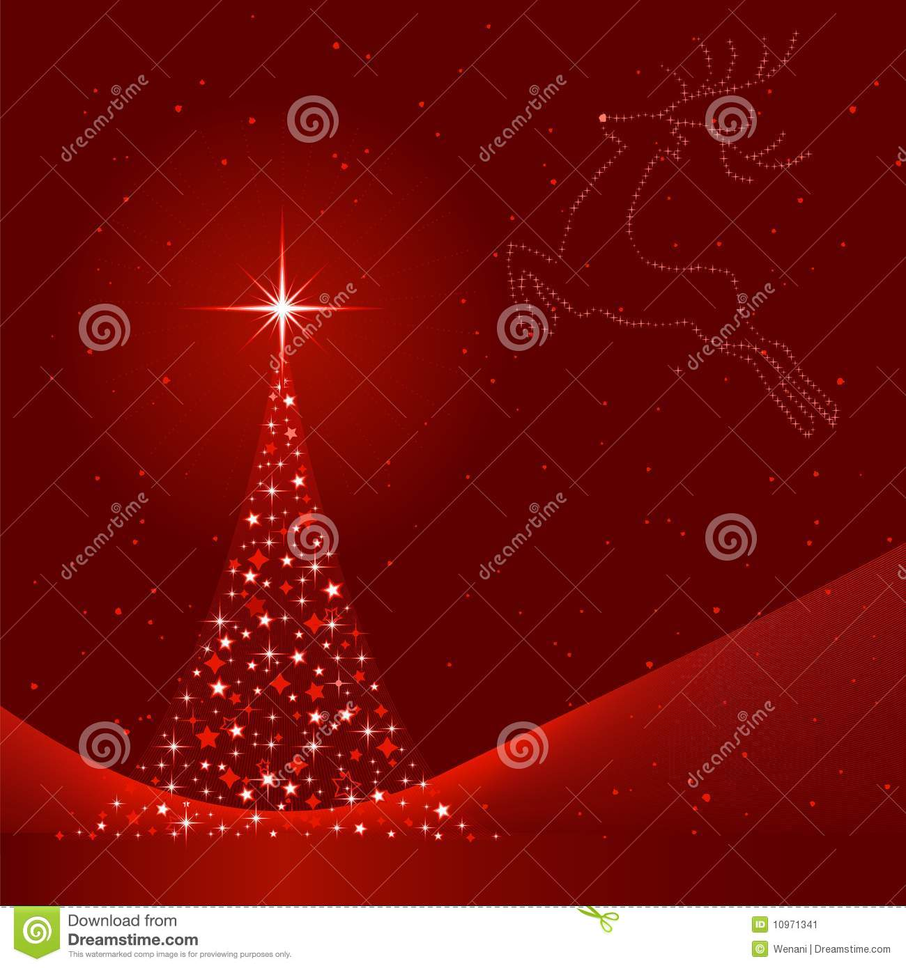 Xmas background images - Xmas Background With Christmas Tree And Reindeer Stock Image