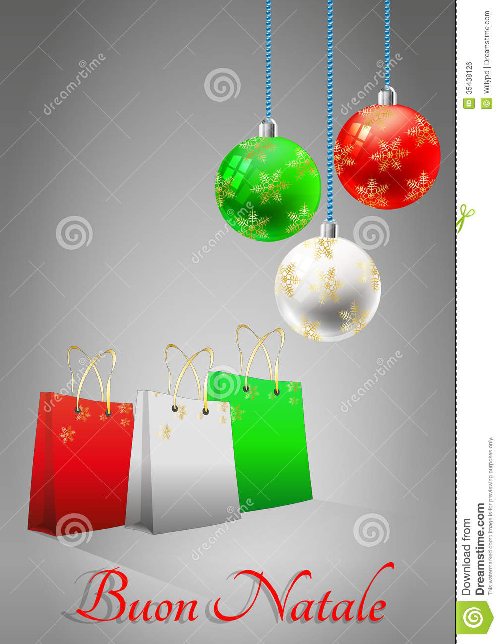 Xmas bag and ball italy stock vector. Illustration of decoration ...