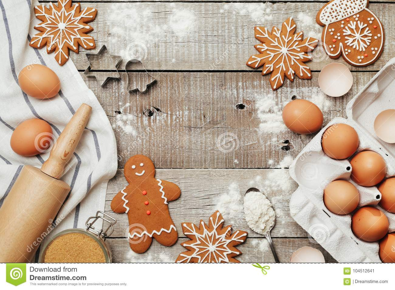 Xmas Baking Or Cooking Background Text Space Top View Stock Image