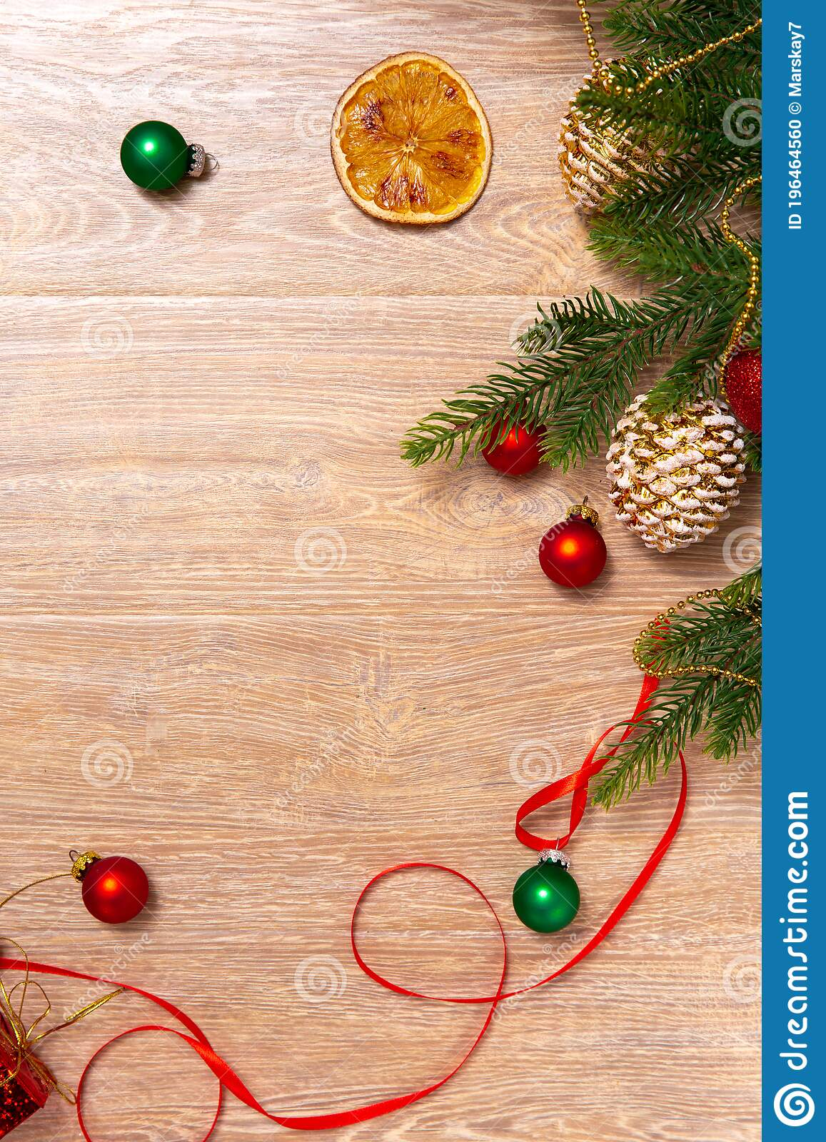 Xmas Banner With Cone Oranges Tape Beads And Christmas Tree On Wooden Background Copyspace New Year Top View Stock Photo Image Of Invitation Ornament 196464560