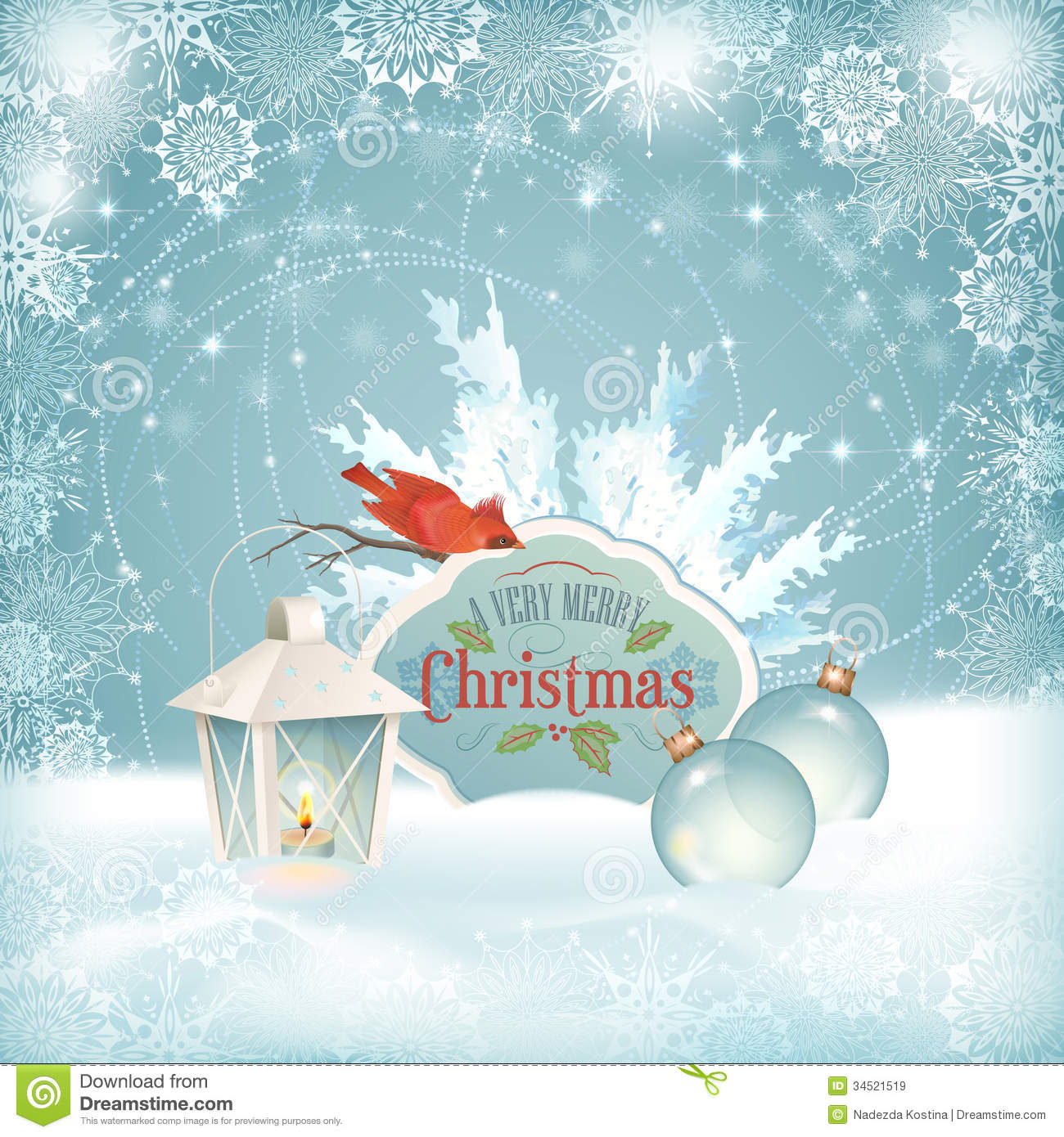 Xmas Bird Lantern Christmas Balls Background Royalty Free Stock Images ...