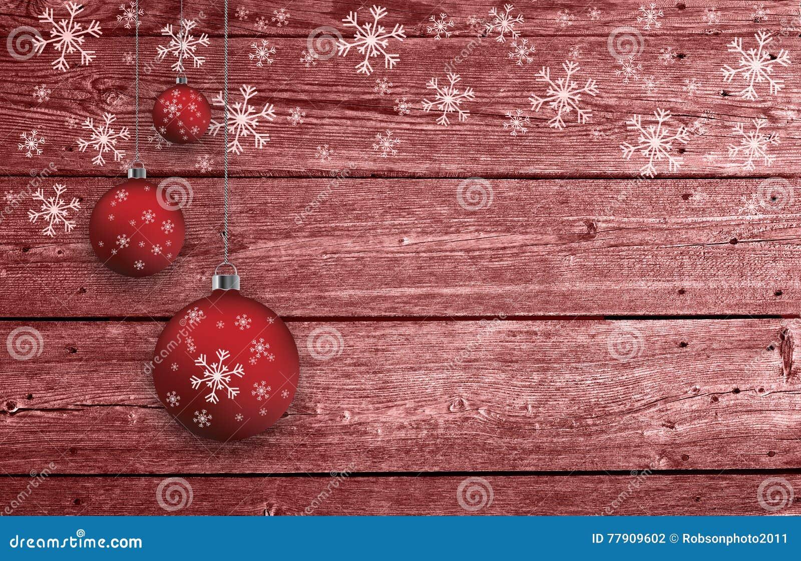 Xmas Bulbs Set Decoration On Wooden Background Stock Photo ...