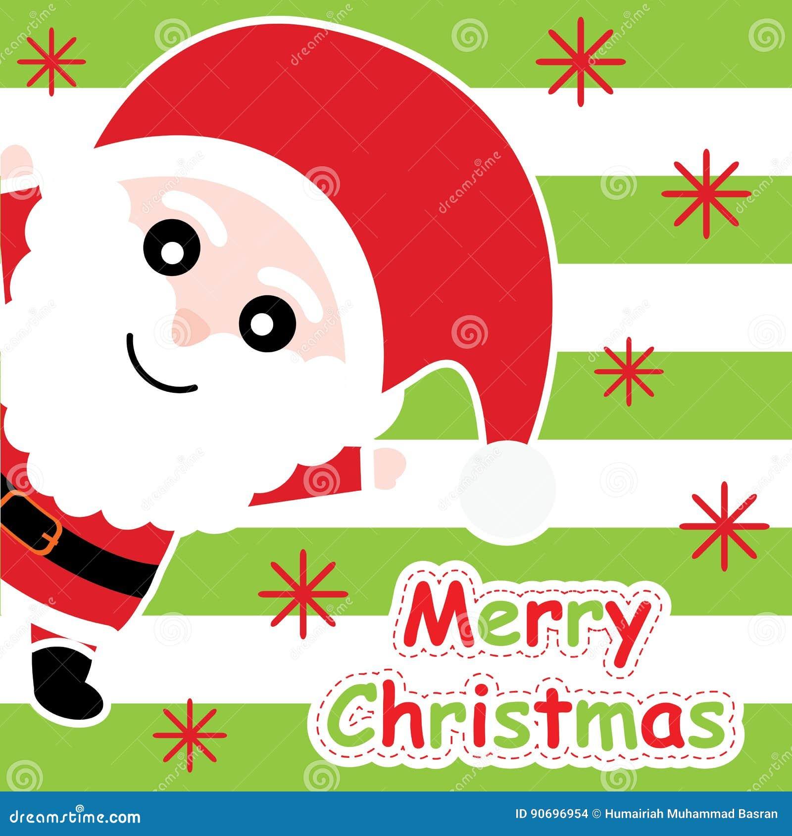 Xmas Card With Cute Santa Claus Cartoon On Green Striped