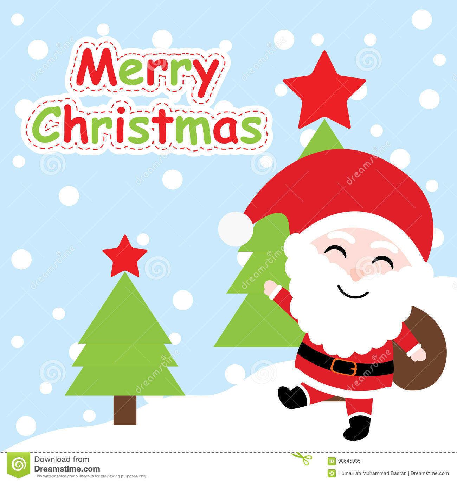Xmas Card With Cute Santa Claus Cartoon On Xmas Tree Background Xmas Postcard Wallpaper And Greeting Card Stock Vector Illustration Of Santa Happy 90645935