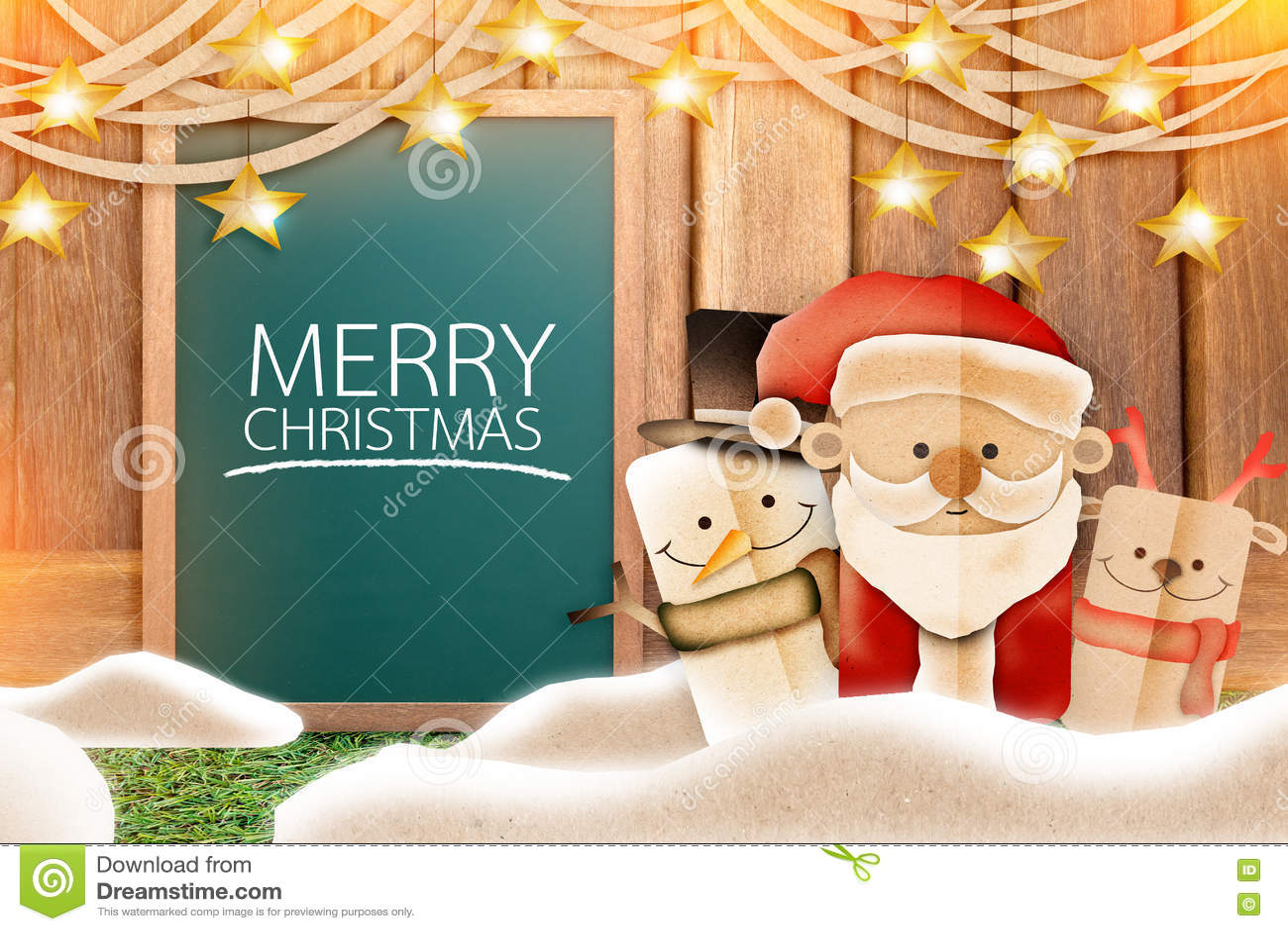 Christmas Celebration Cartoon Images.Xmas Cartoon Paper Cut With Chalkboard Background Stock