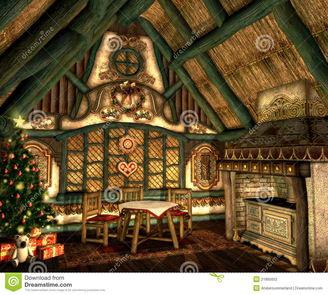 Xmas Cottage Stock Illustration Image Of Ornaments