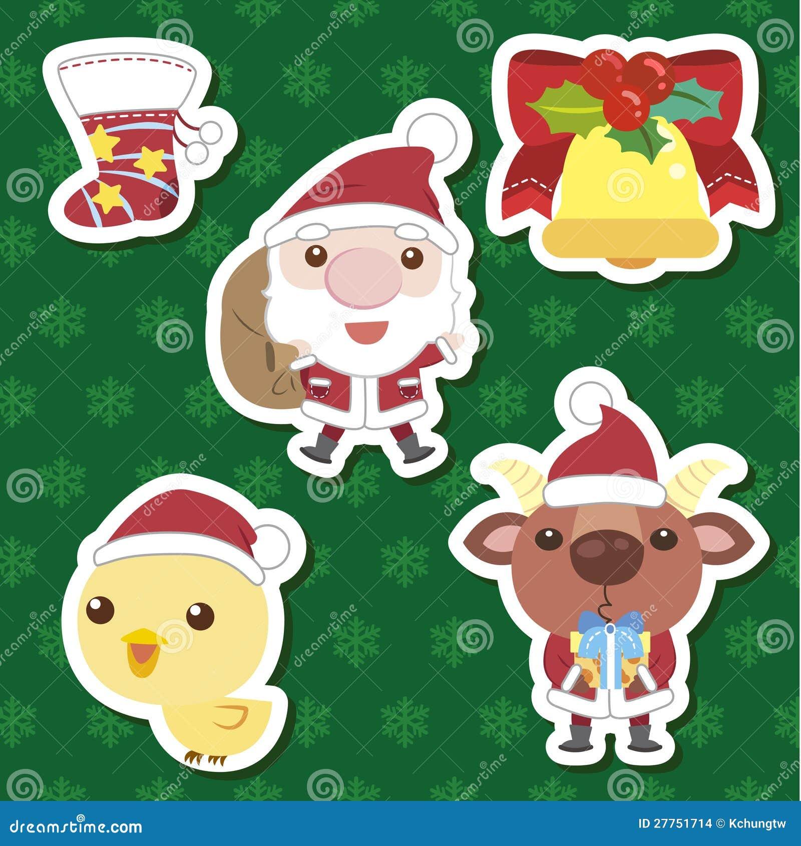 Xmas cute cartoon set stock vector. Illustration of design - 27751714
