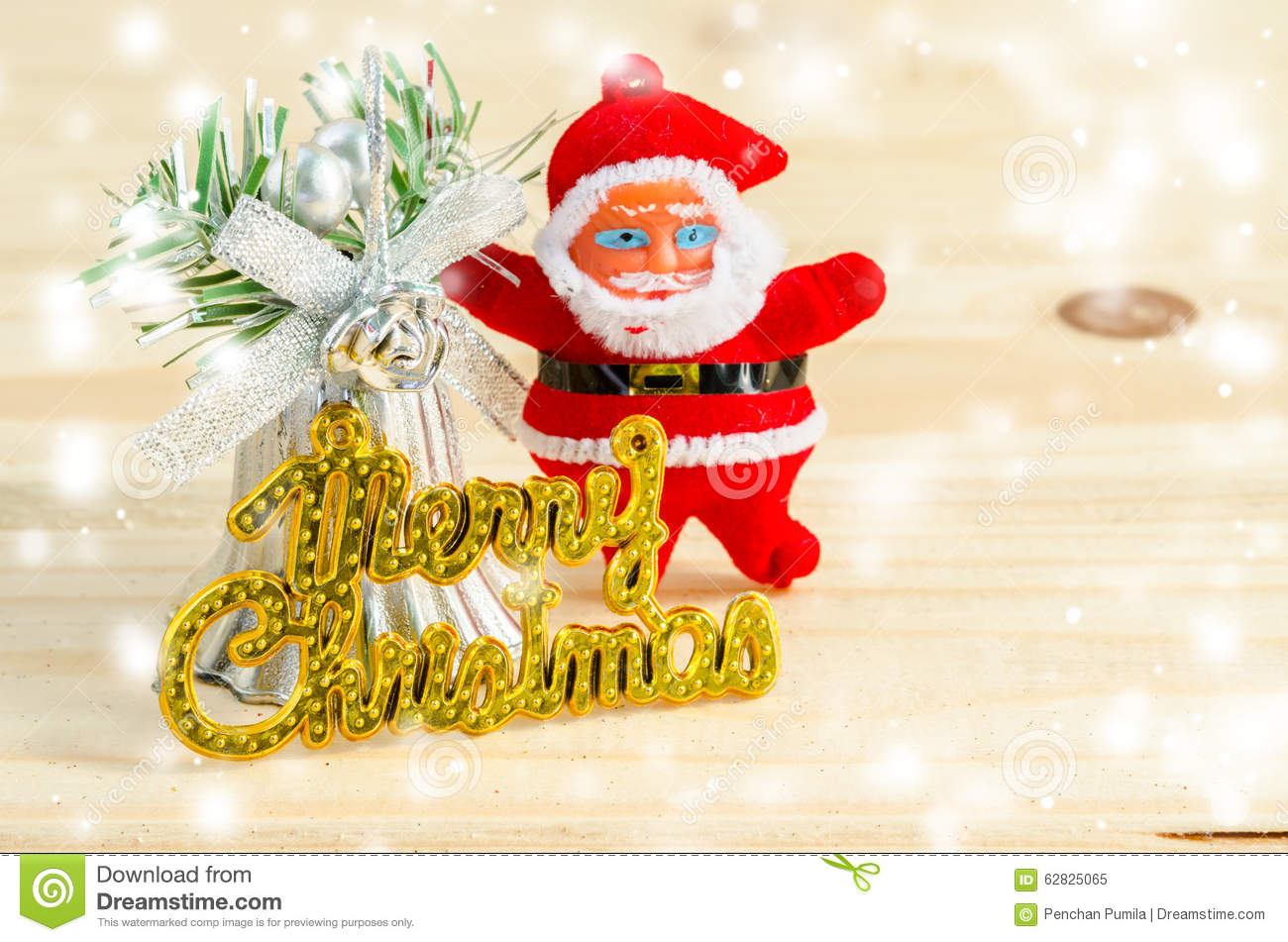 xmas day: merry christmas wording and santa doll stock image - image