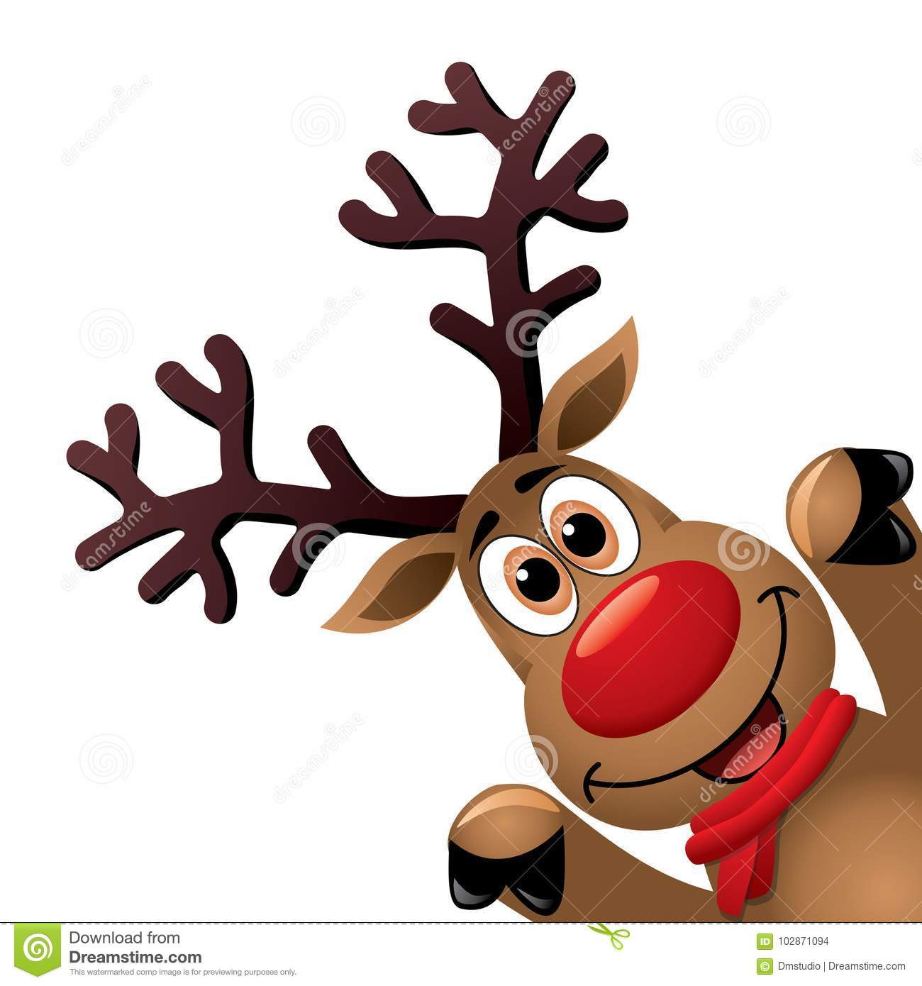 Christmas Reindeer.Xmas Drawing Of Funny Red Nosed Reindeer Vector Stock