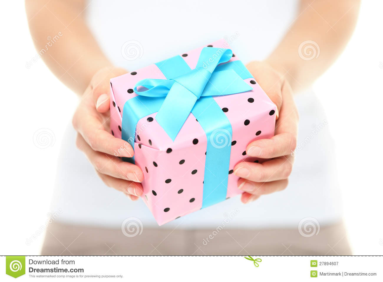 Gift Box Present Or Christmas Gift Hand Close Up Stock Images