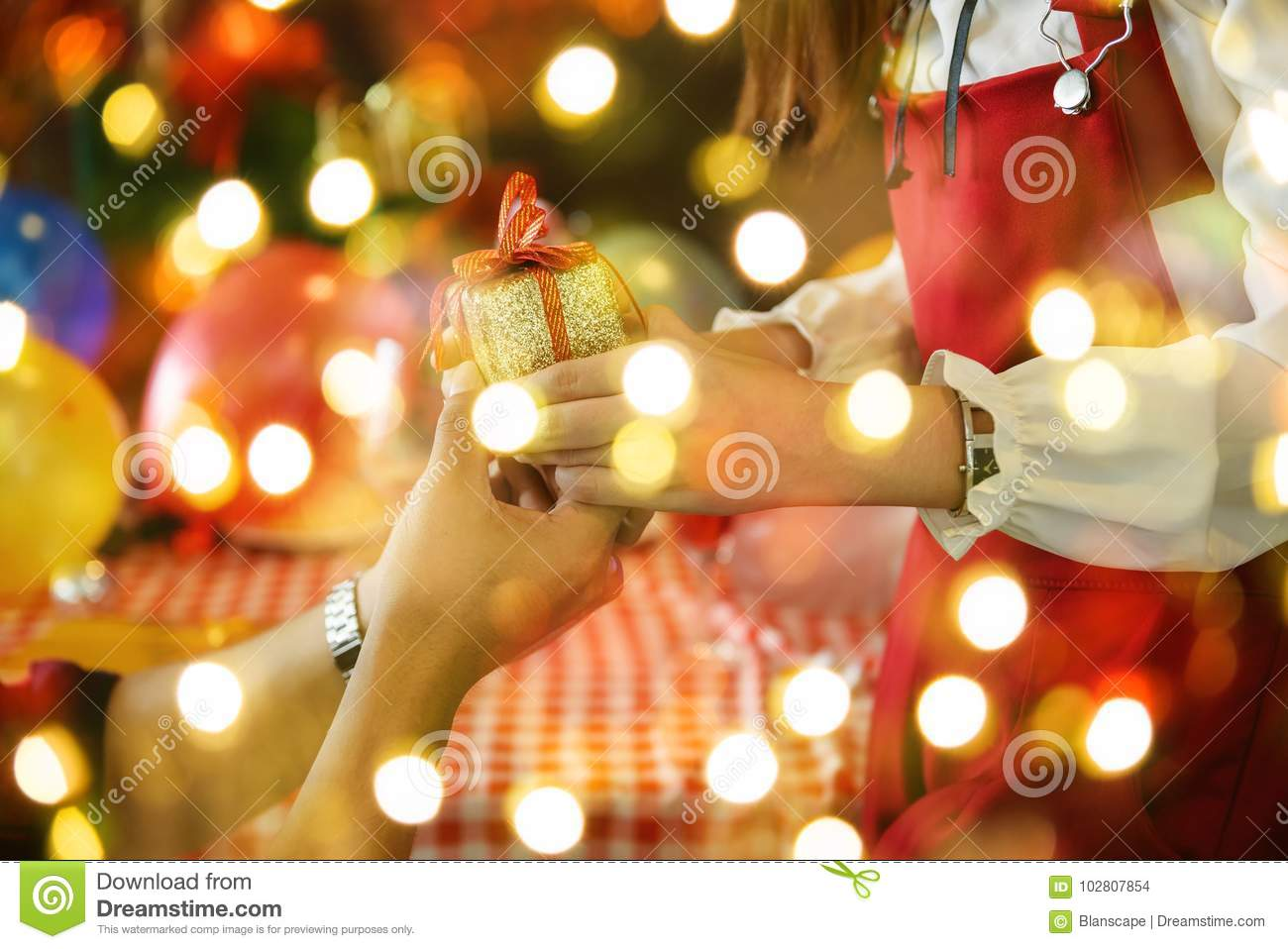 XMas gift and light bokeh stock photo. Image of gift - 102807854