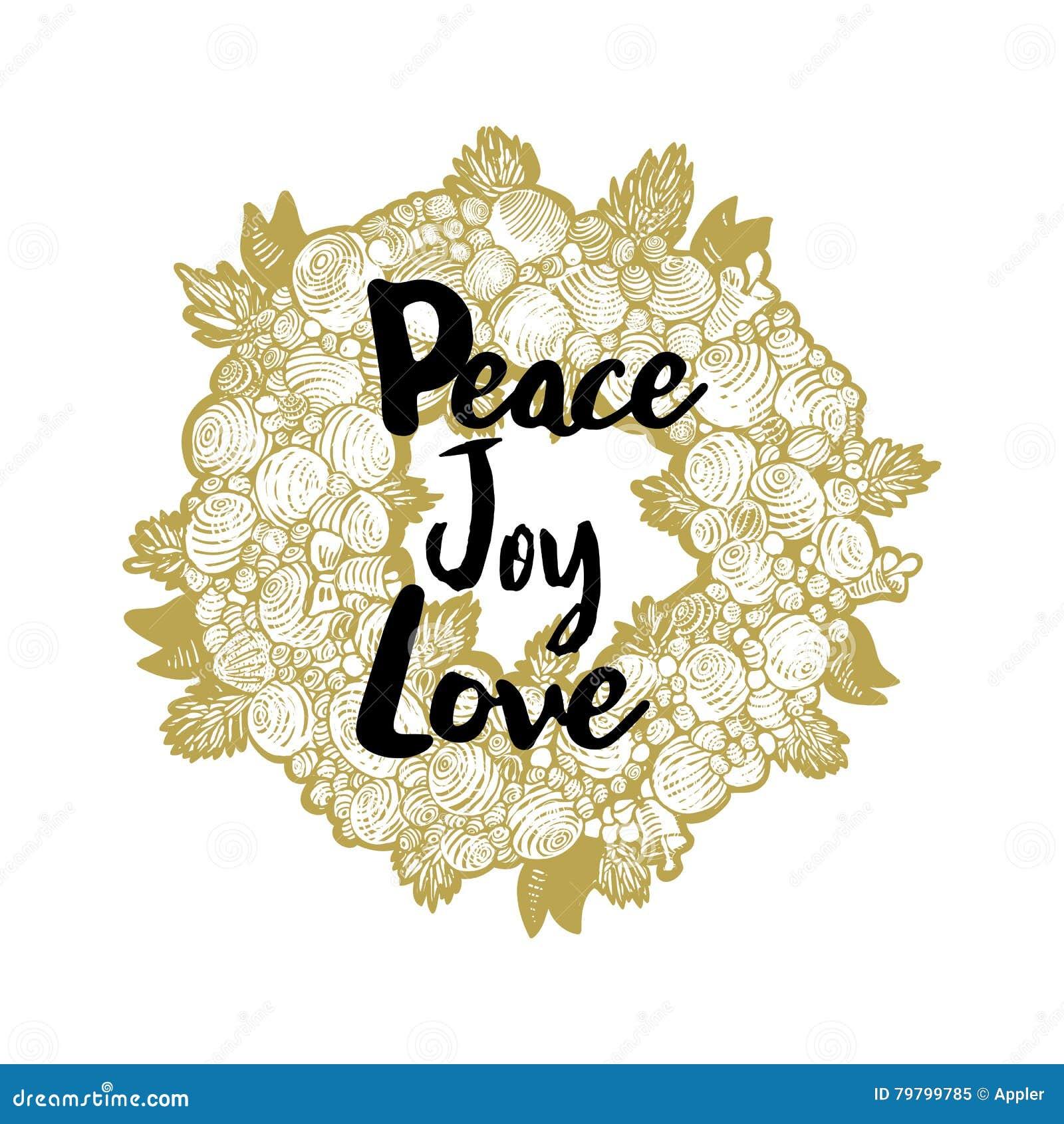 Xmas Golden Wreath And Peace Love Joy Stock Vector - Illustration of ...