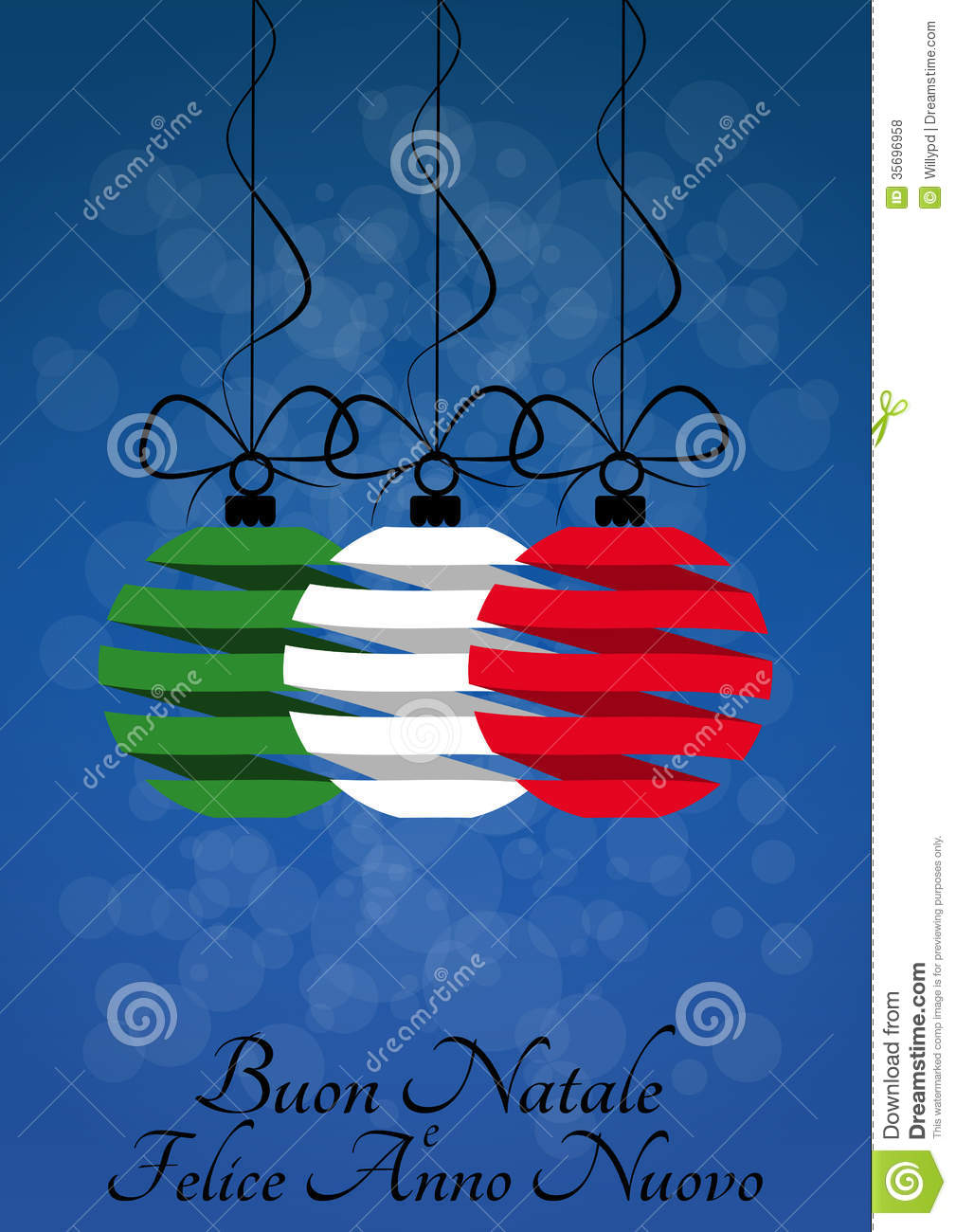 illustration of christmas balls with merry christmas in italian language