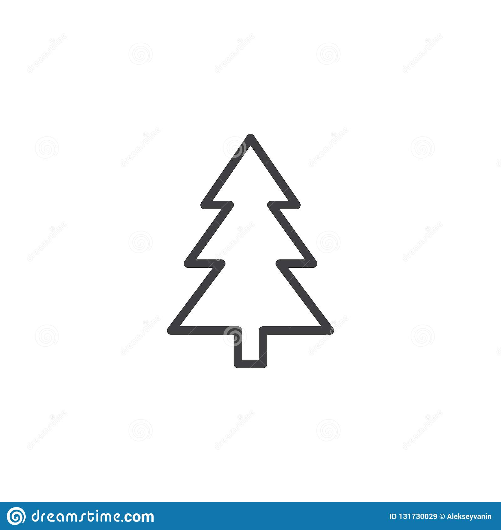Xmas konturu drzewna ikona