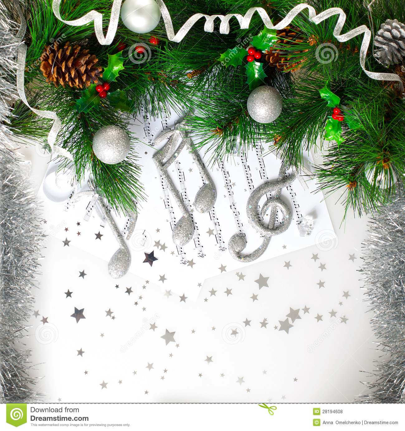 Picture of Xmas musical symbol, decorated green Christmas tree branch ...