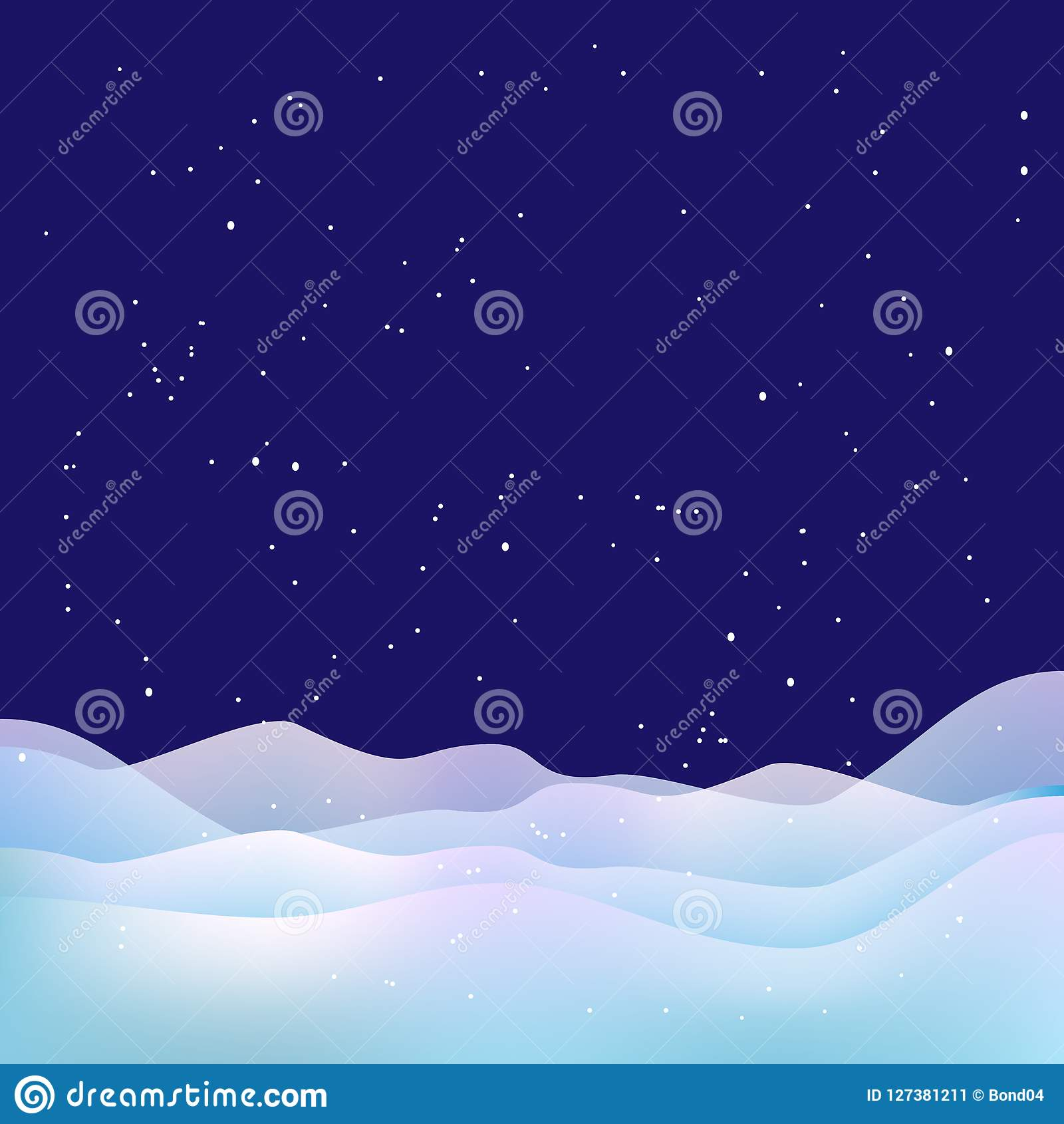 Xmas night background. Snow, stars and snowdrifts