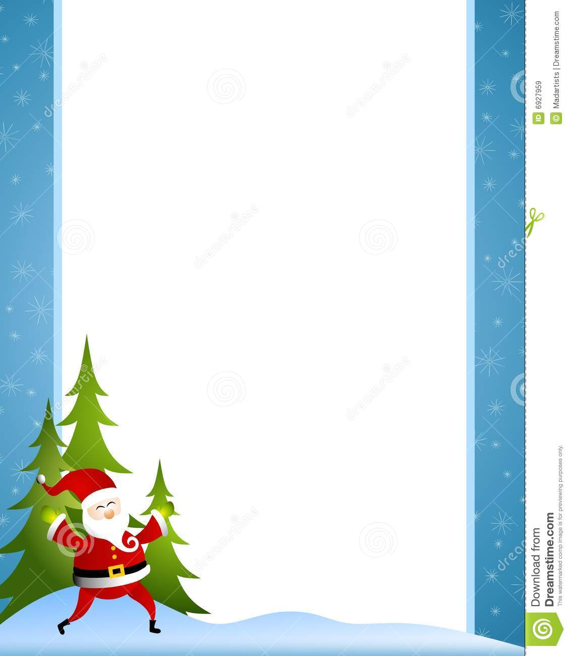 of all - a happy Santa Claus dancing about with a blue double border ...
