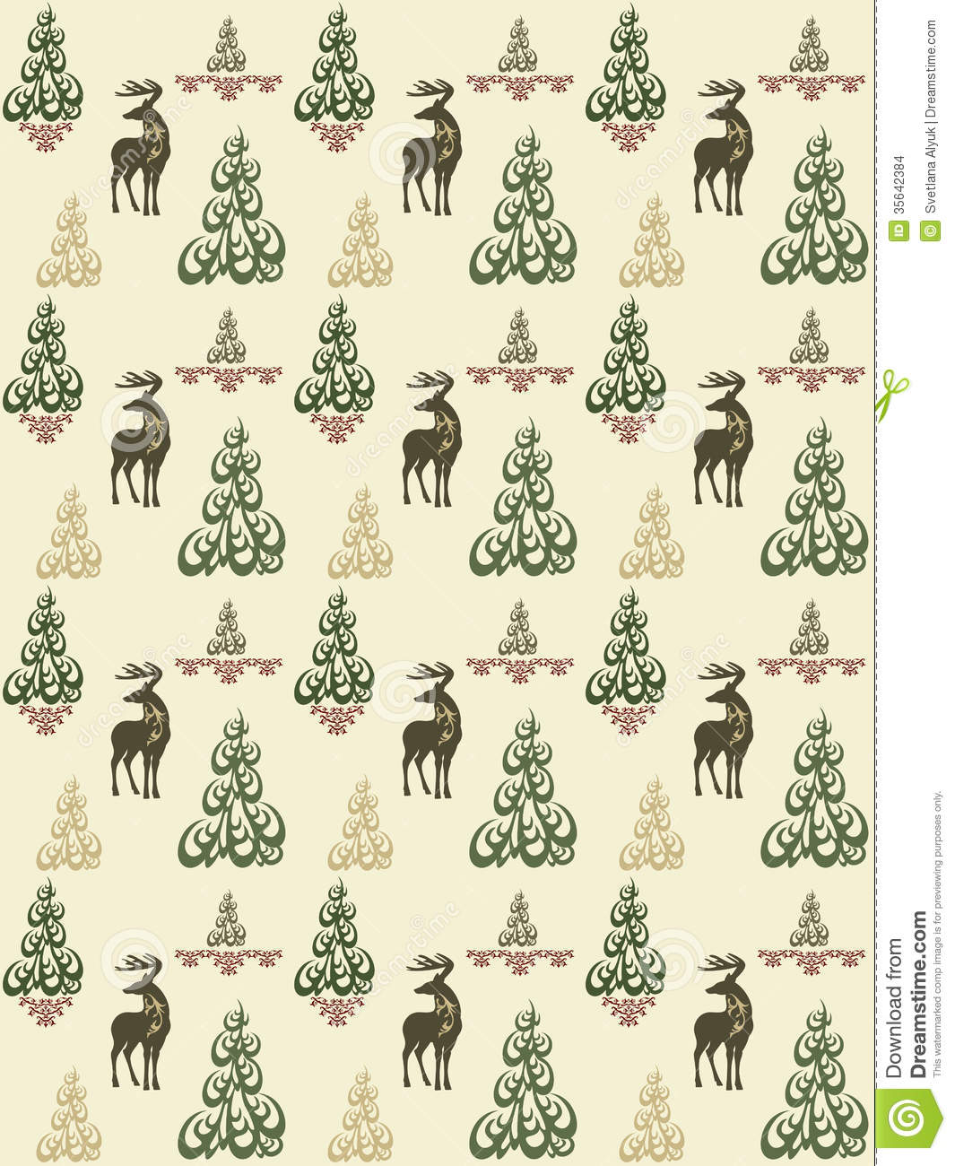 Seamless vintage style pattern with christmas deers and trees - Xmas    Vintage Christmas Pattern