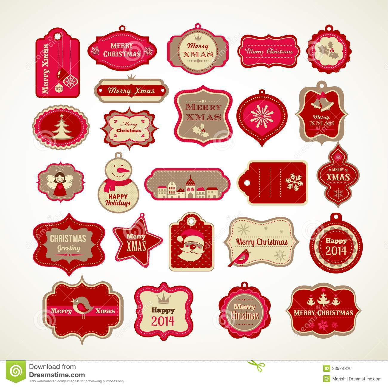 Xmas Set - Labels, Tags And Decorative Elements Royalty Free Stock ...