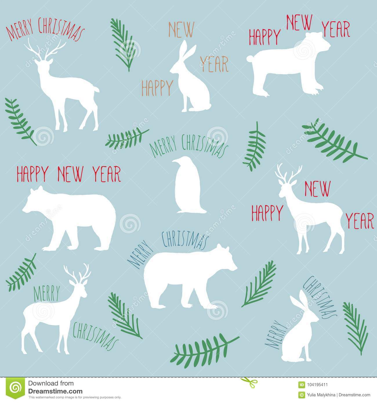 slogans merry christmas happy new year with flat animals - Christmas Slogans