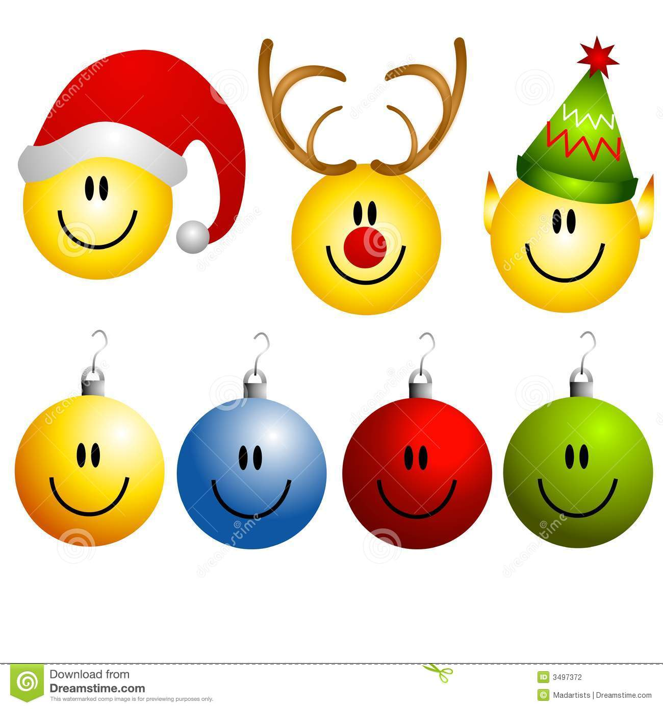 clip art illustration of a collection of Christmas smileys and icons ...