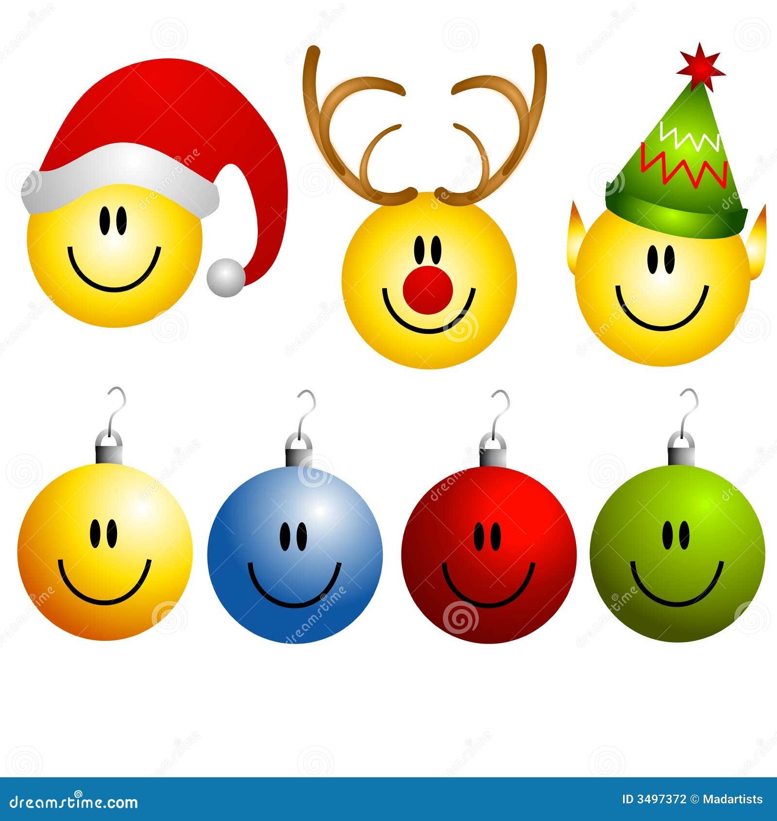 Xmas Smileys Ornament Icons Stock Photography Image 3497372