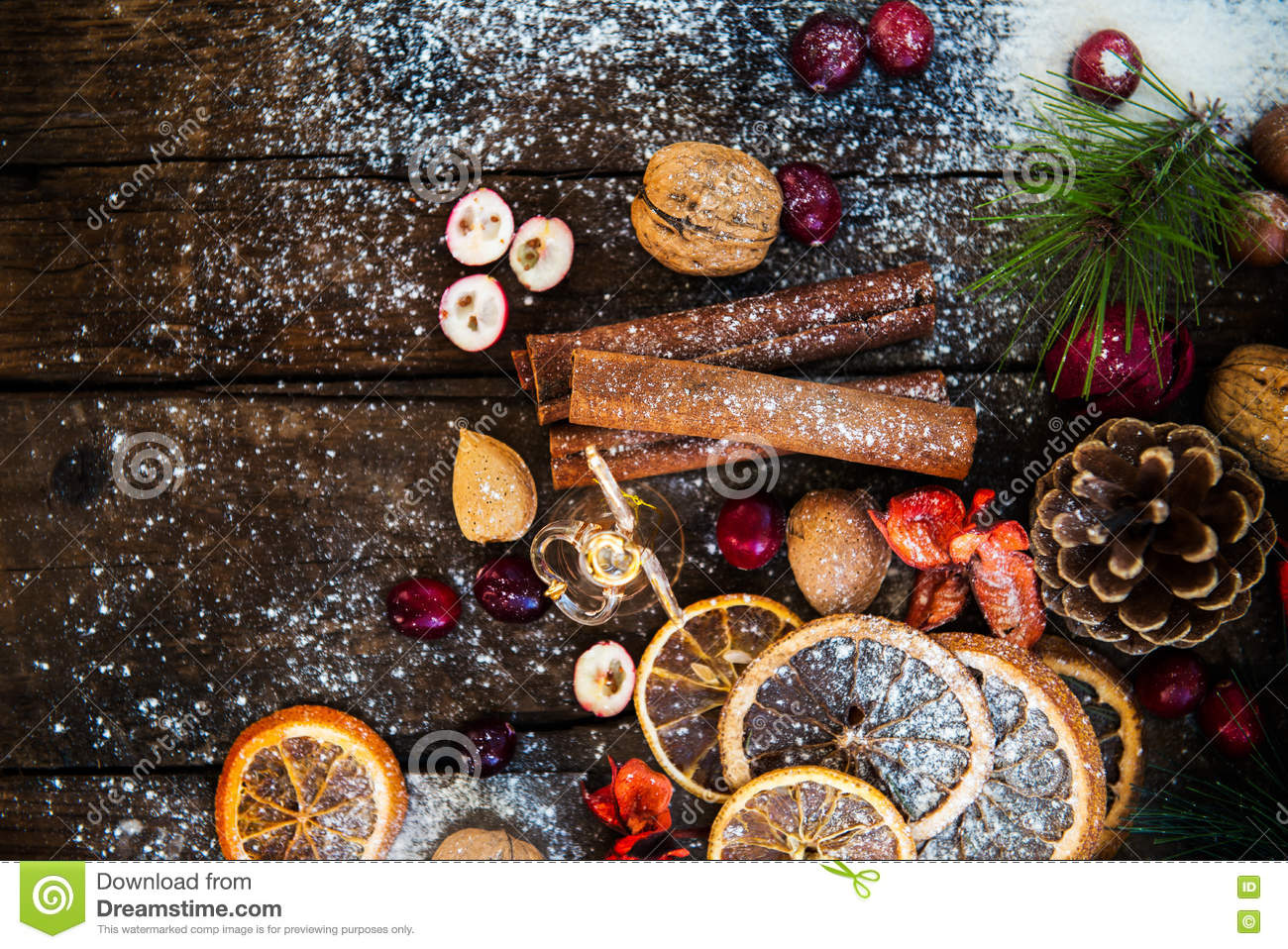 Download Xmas Symbols Such As Snow, Nuts, And Berries Stock Image - Image of spirit, cold: 80904927