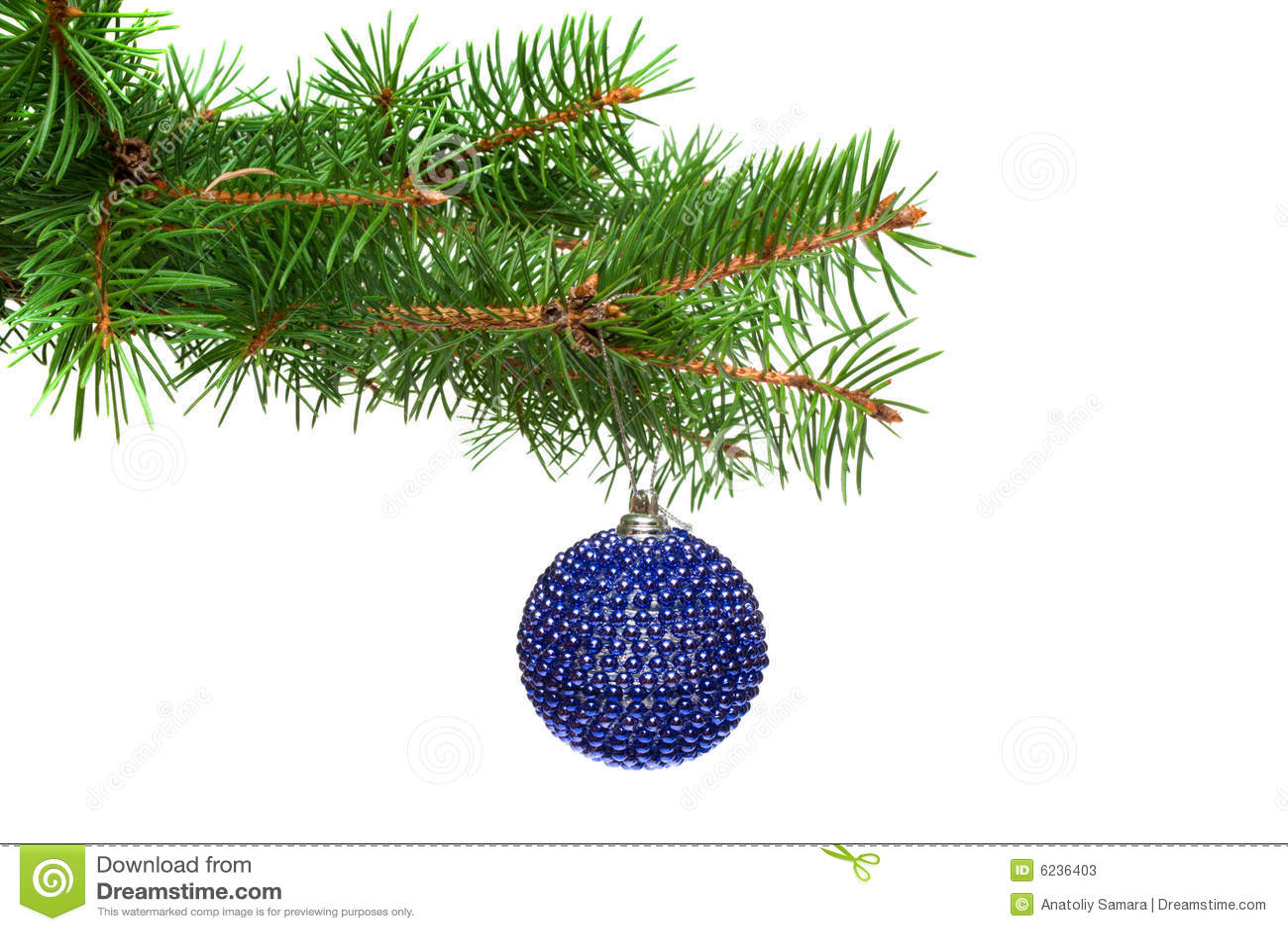 Xmas Tree Ball On A Christmas Tree Branch, Isolate Stock Photos ...