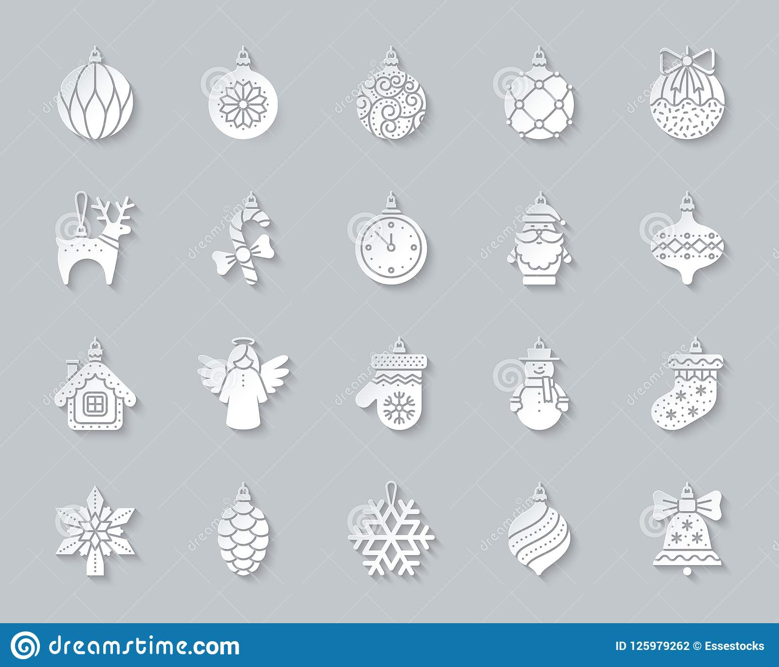 Xmas Tree Decor Simple Paper Cut Icons Vector Set Stock Vector Illustration Of Hanging Ball 125979262
