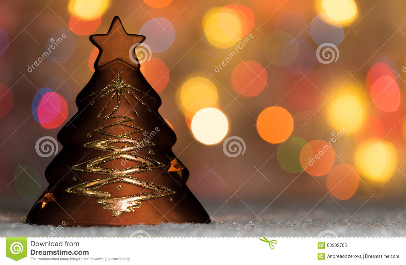 Xmas Tree Shaped Candle Holder Standing In Snow With Christmas  - Christmas Tree Shaped Lights