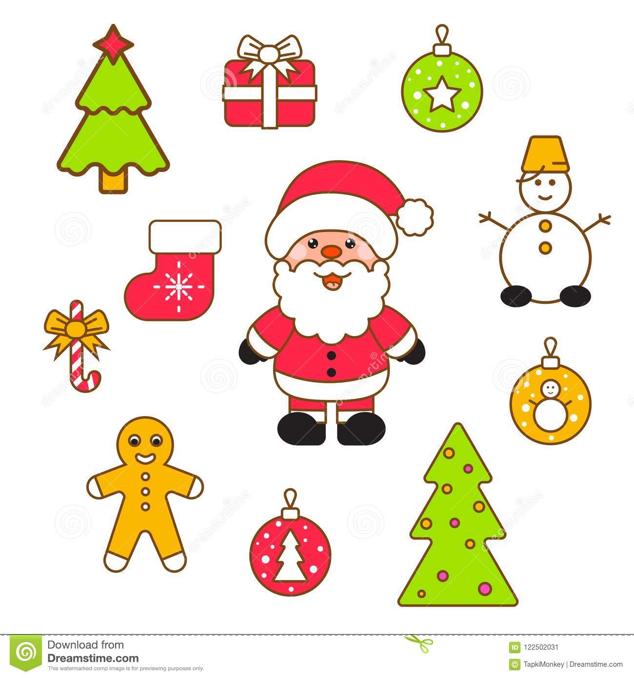Christmas Eve Clipart.Xmas Vector Clipart Set Stock Vector Illustration Of