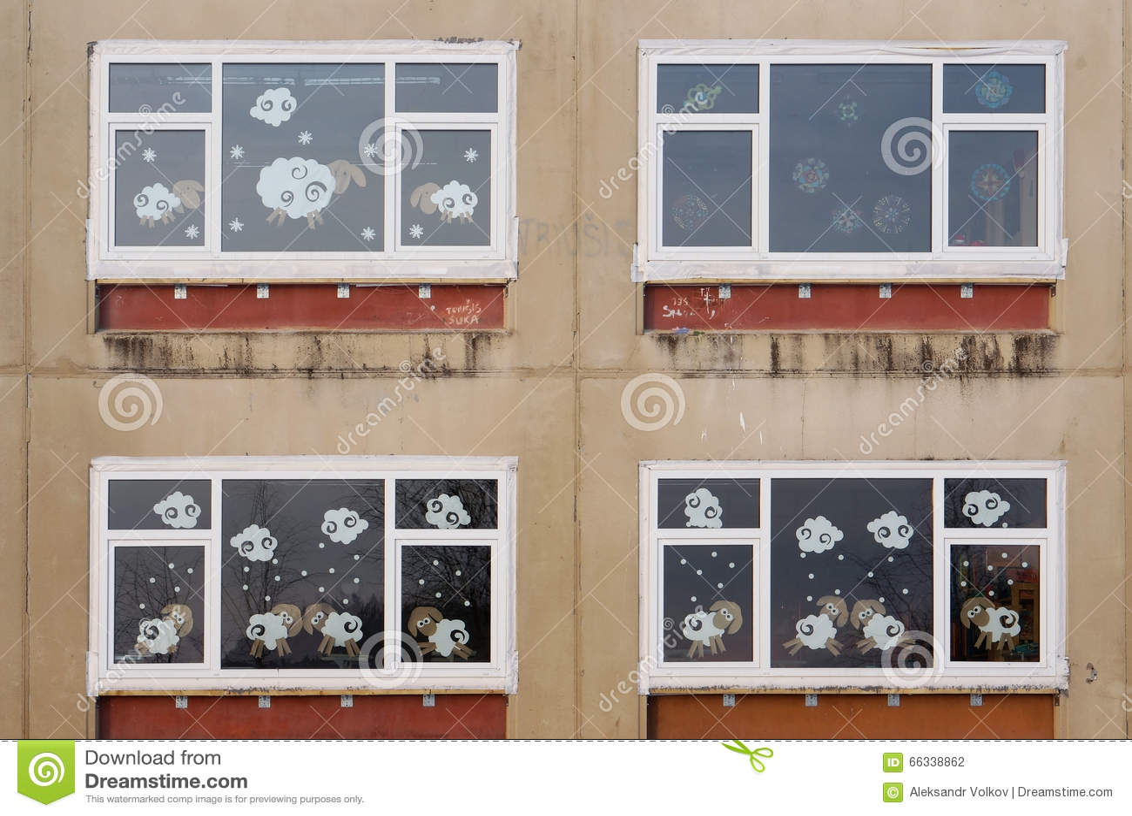 Xmas windows of old village school stock photo image for Addobbi di natale scuola primaria