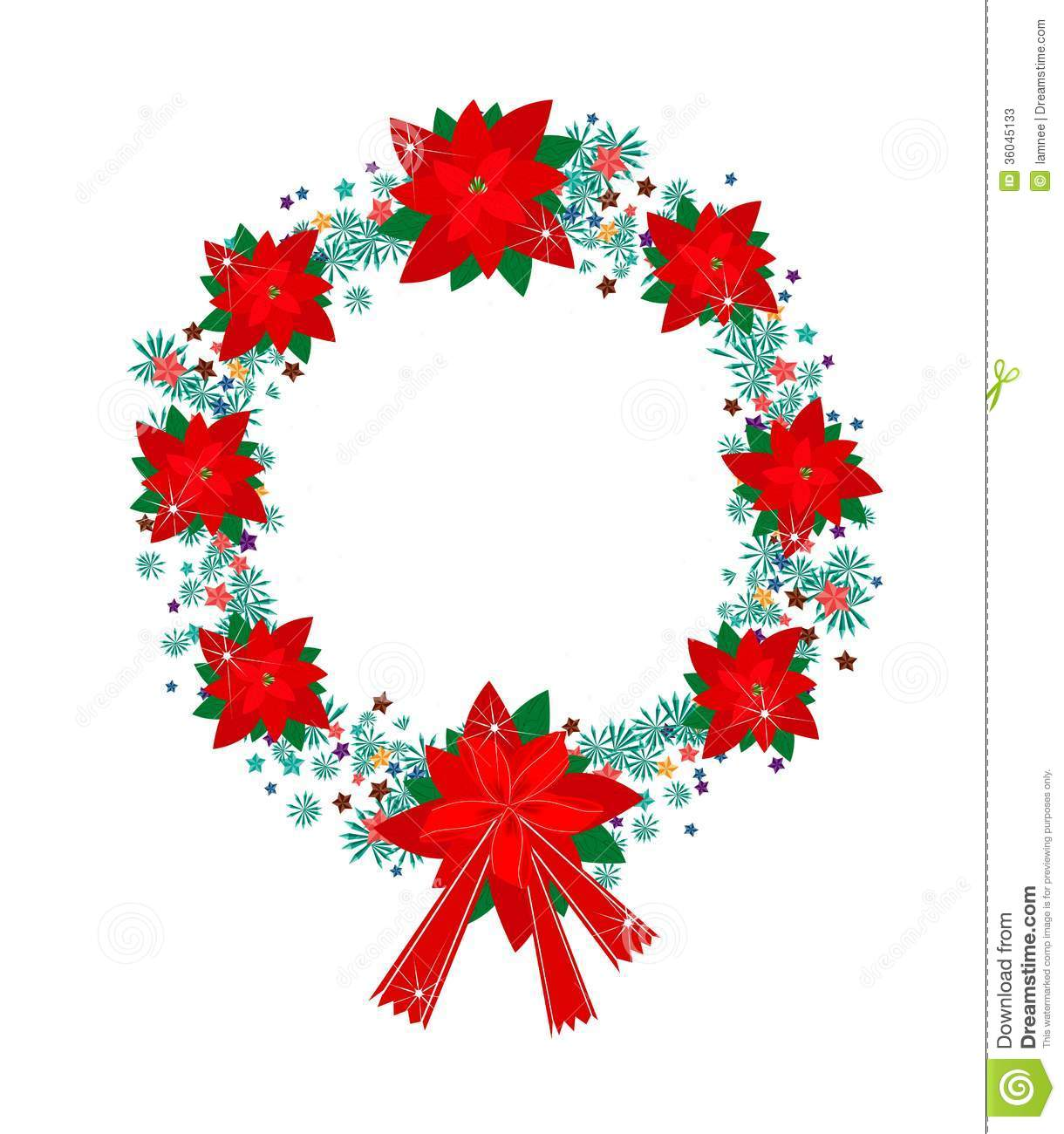 Xmas Wreath Of Red Poinsettia Flowers And Bow Stock Photos