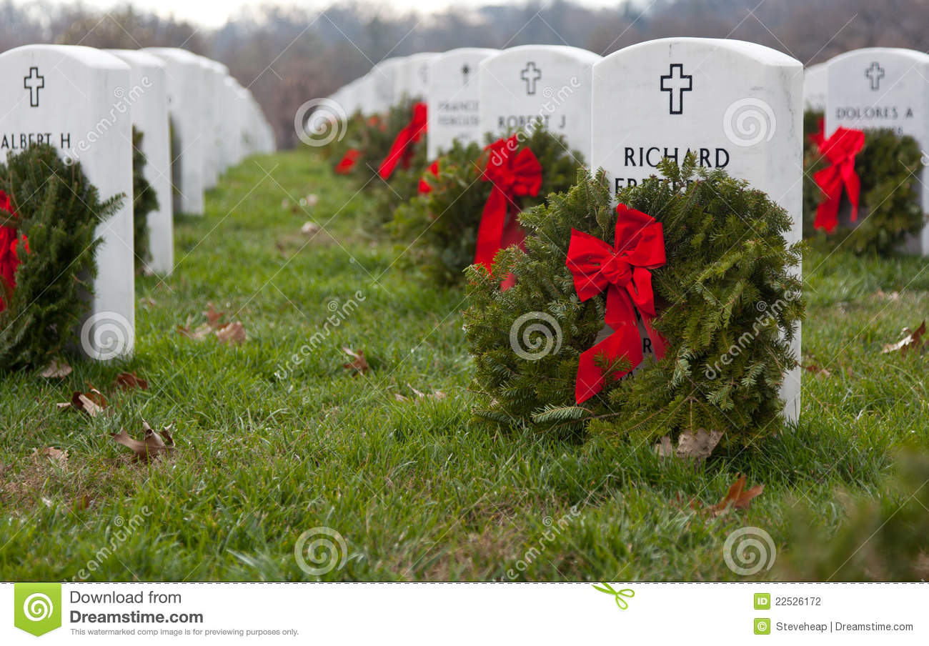 xmas wreaths in arlington cemetery editorial photography image