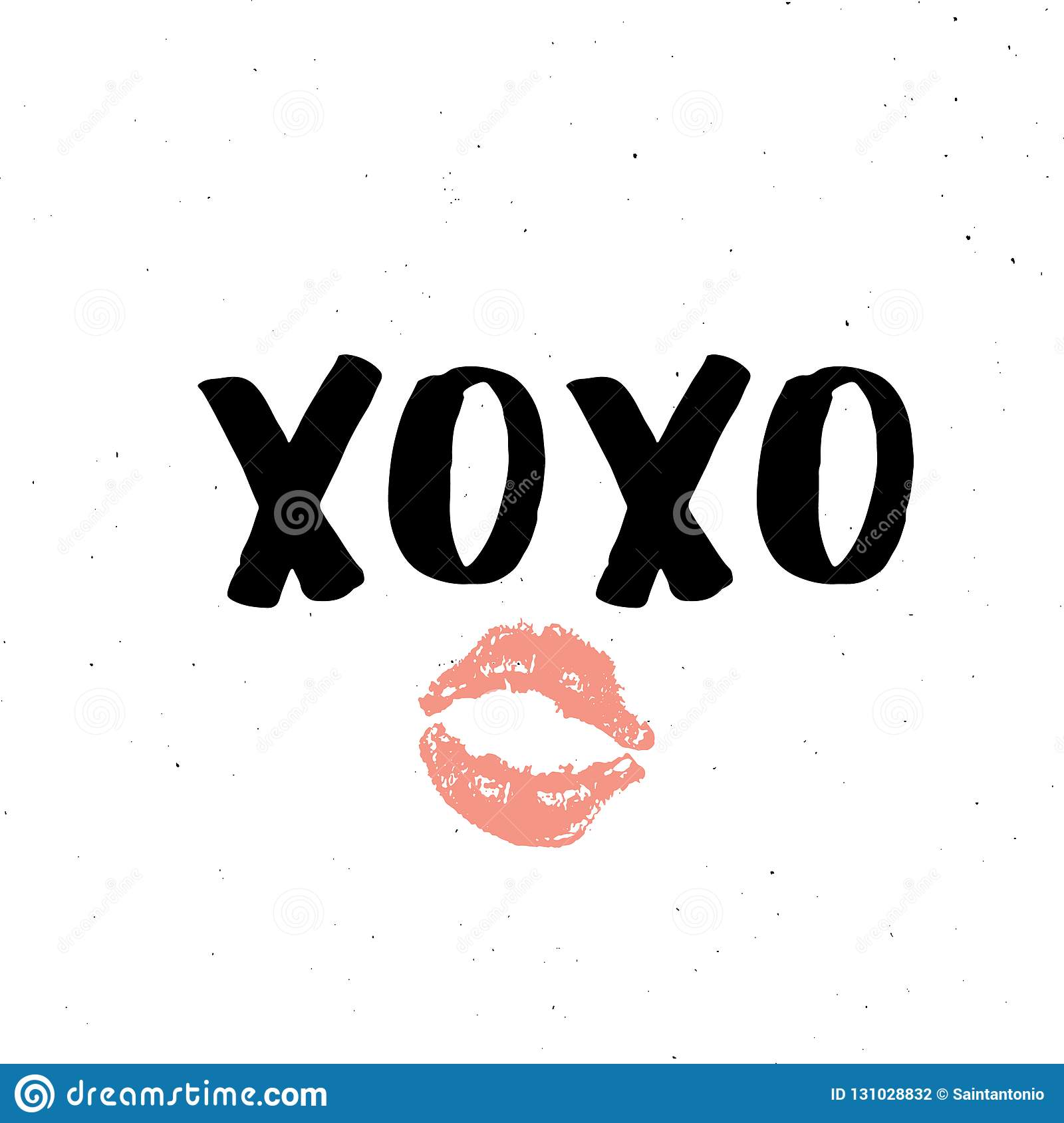 XOXO Brush Lettering Sign, Grunge Calligraphic Hugs And