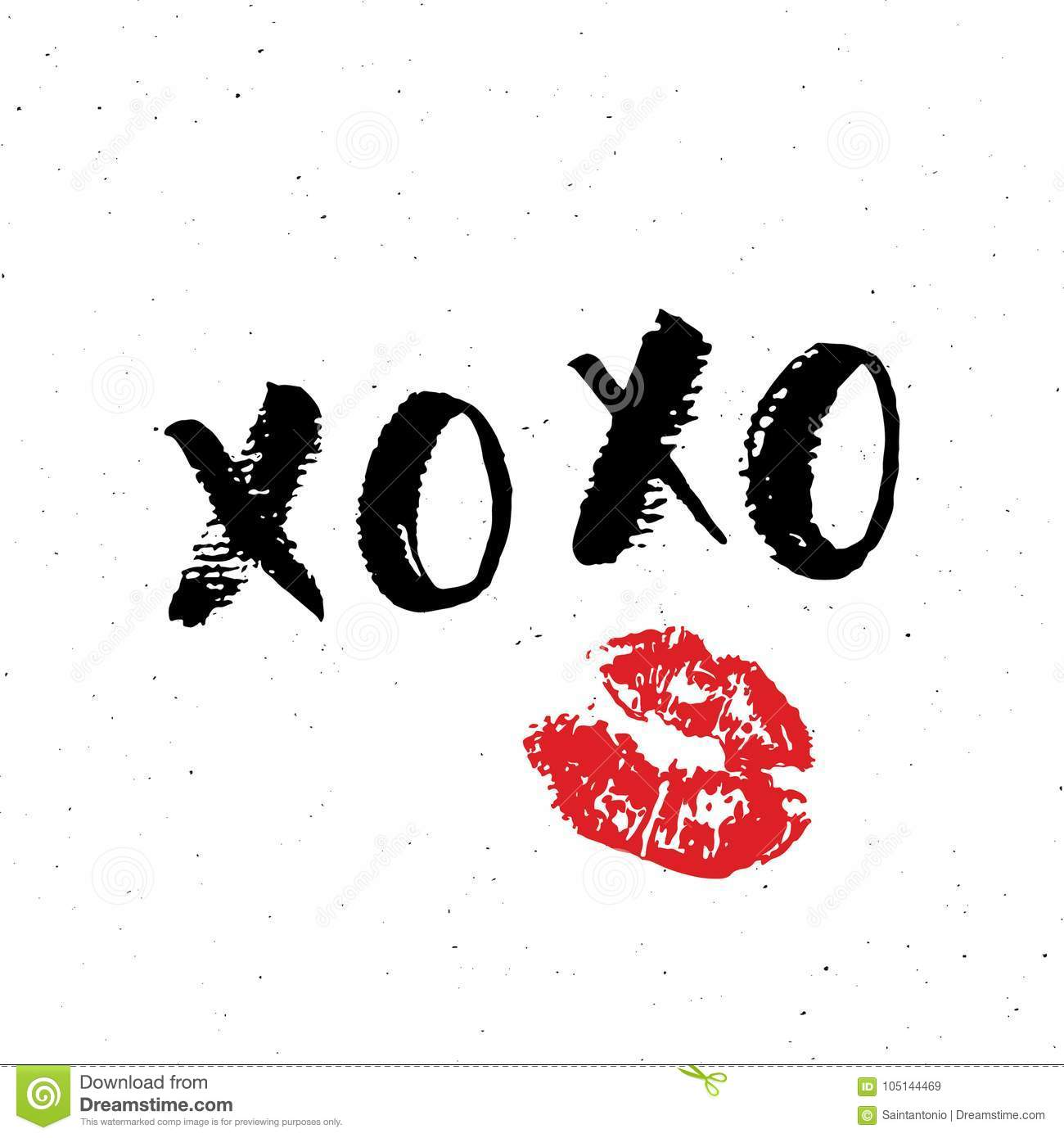 Xoxo Brush Lettering Sign Grunge Calligraphiv C Hugs And Kisses